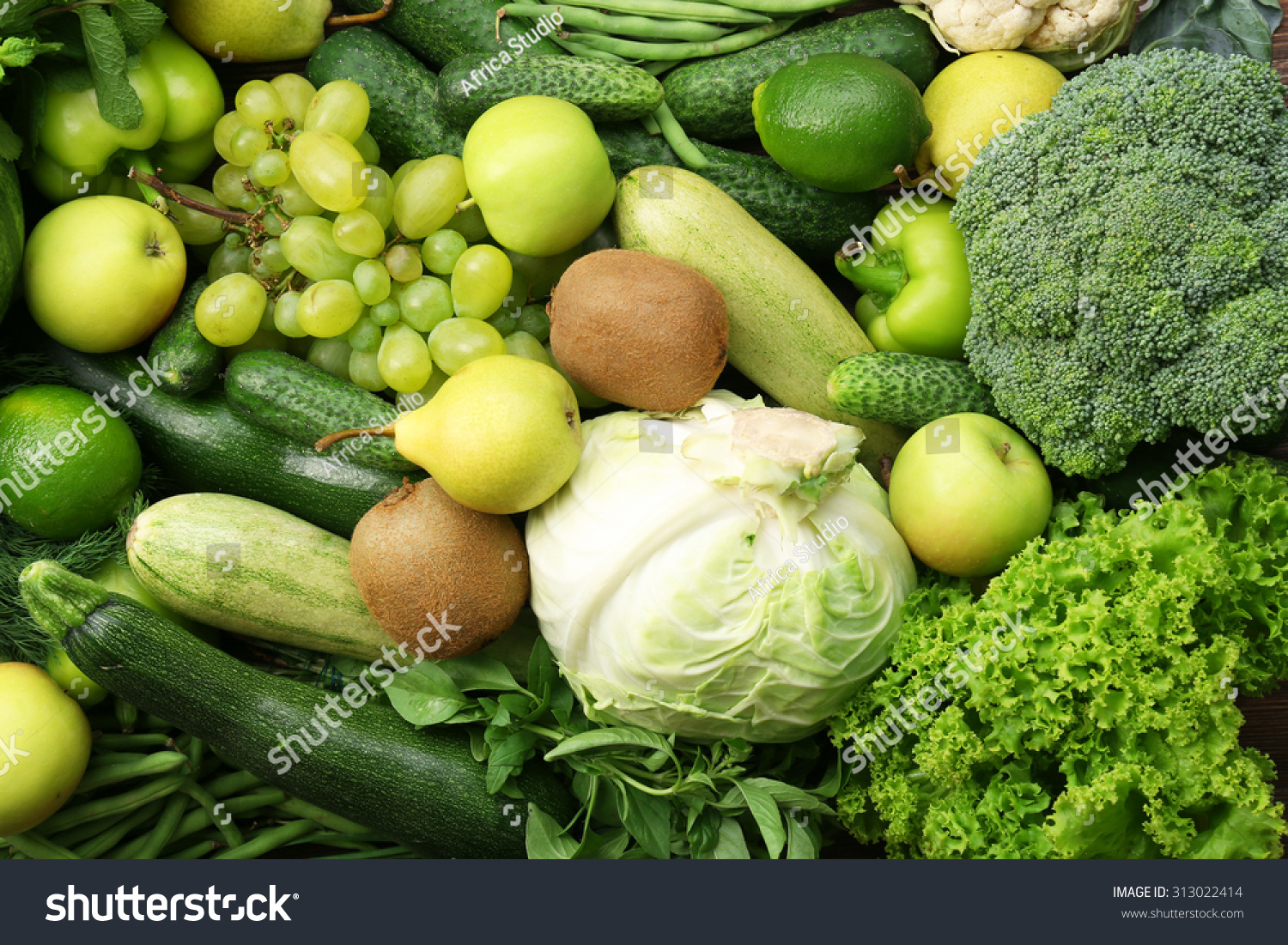 Green Fruits And Vegetables Background 库存照片 313022414 ...