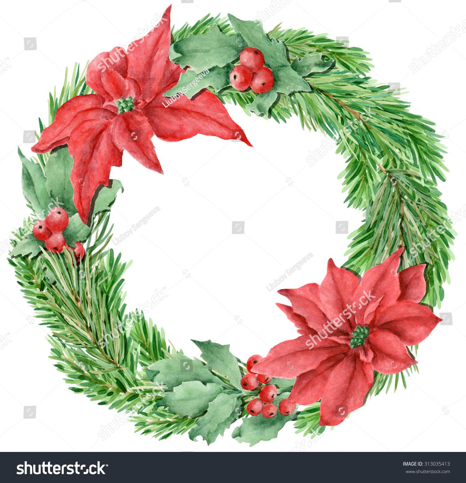 Beautiful Watercolor Hand Drawn Christmas Wreath Stock Illustration ...