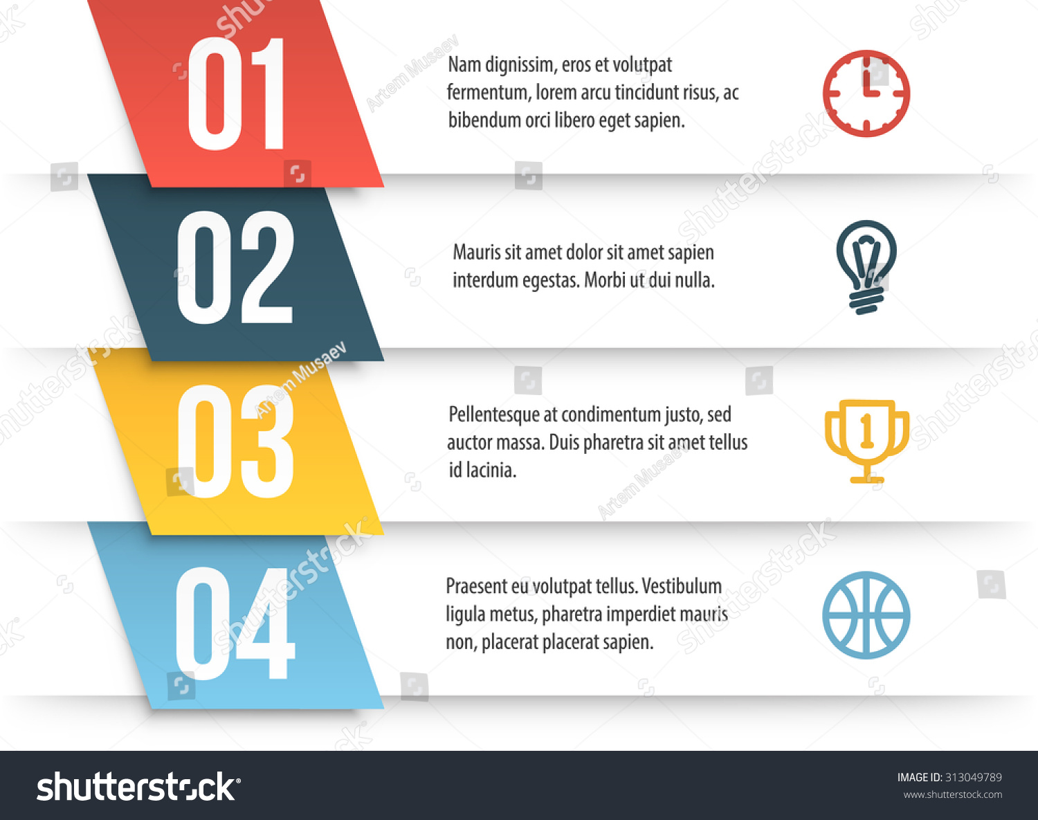simple vector numbered list template on stock vector 313049789
