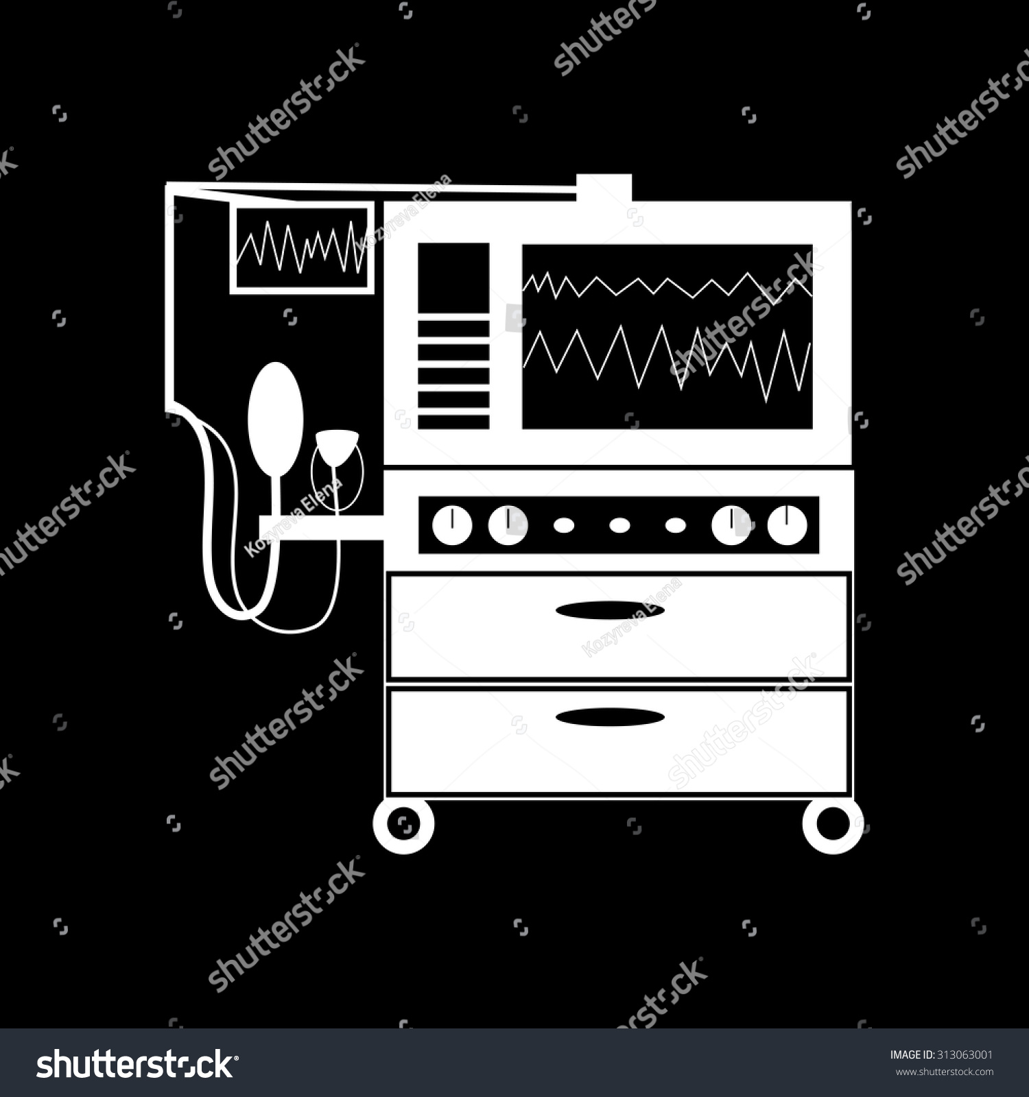 Apparatus Lung Ventilation Medical Technology Black Stock Vector