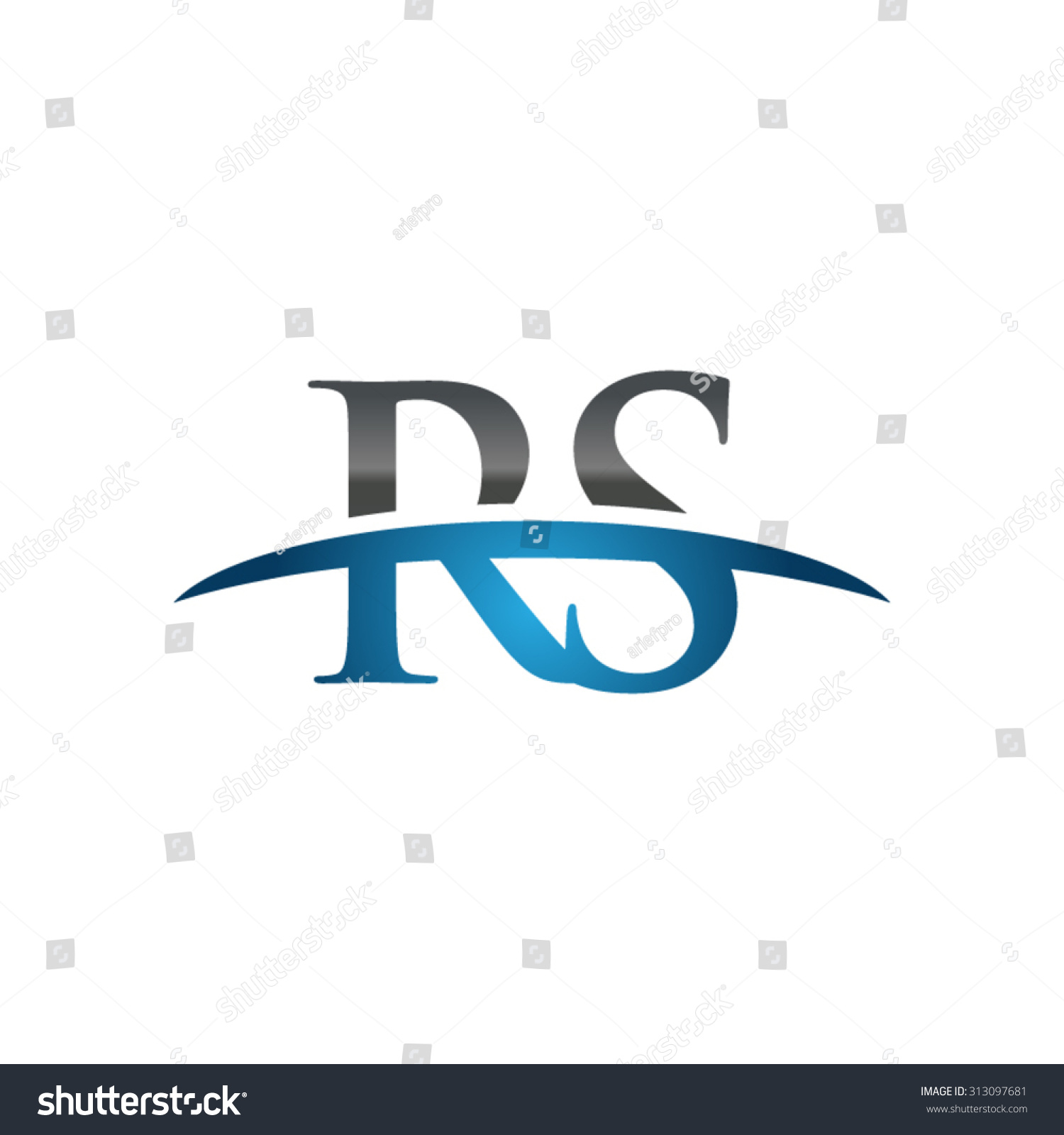Rs Initial Company Blue Swoosh Logo Stock Vector ...