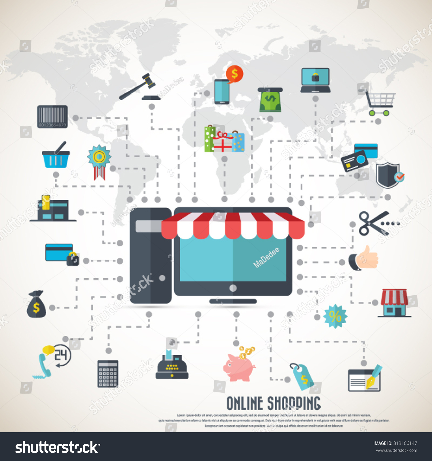 Online shopping desktop awning various icon stock vector 2018 online shopping desktop with awning various icon set and detailed world map eps10 gumiabroncs Images