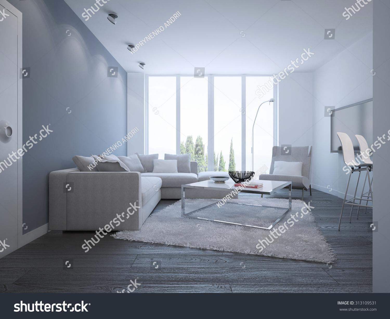 Idea Bright Minimalist Lounge Elegant Room Ilustraci N En