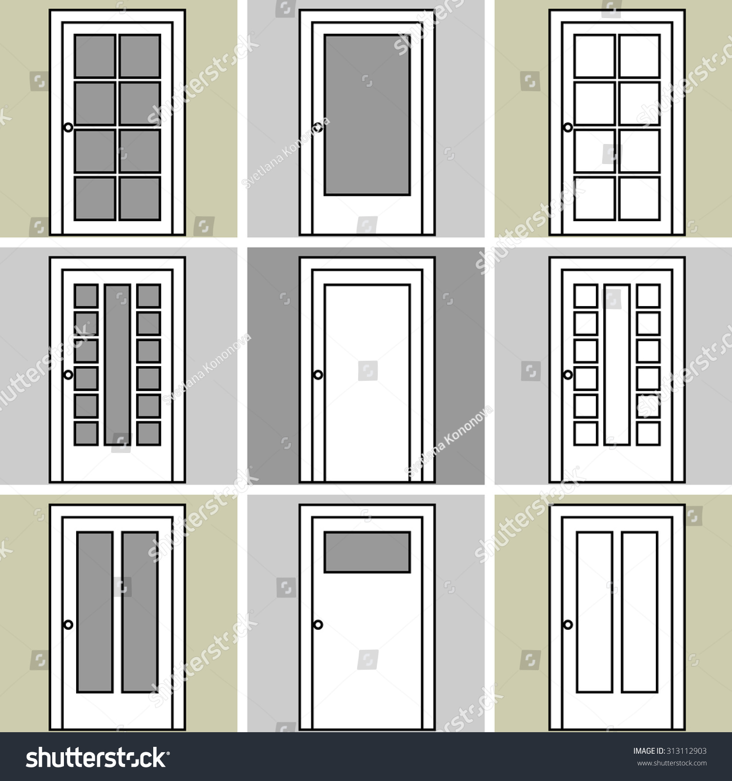 Trocal 76 entry door tiltturnwindows ca - Set Of 9 Wooden Doors Drawings Architectural Collection Black And White