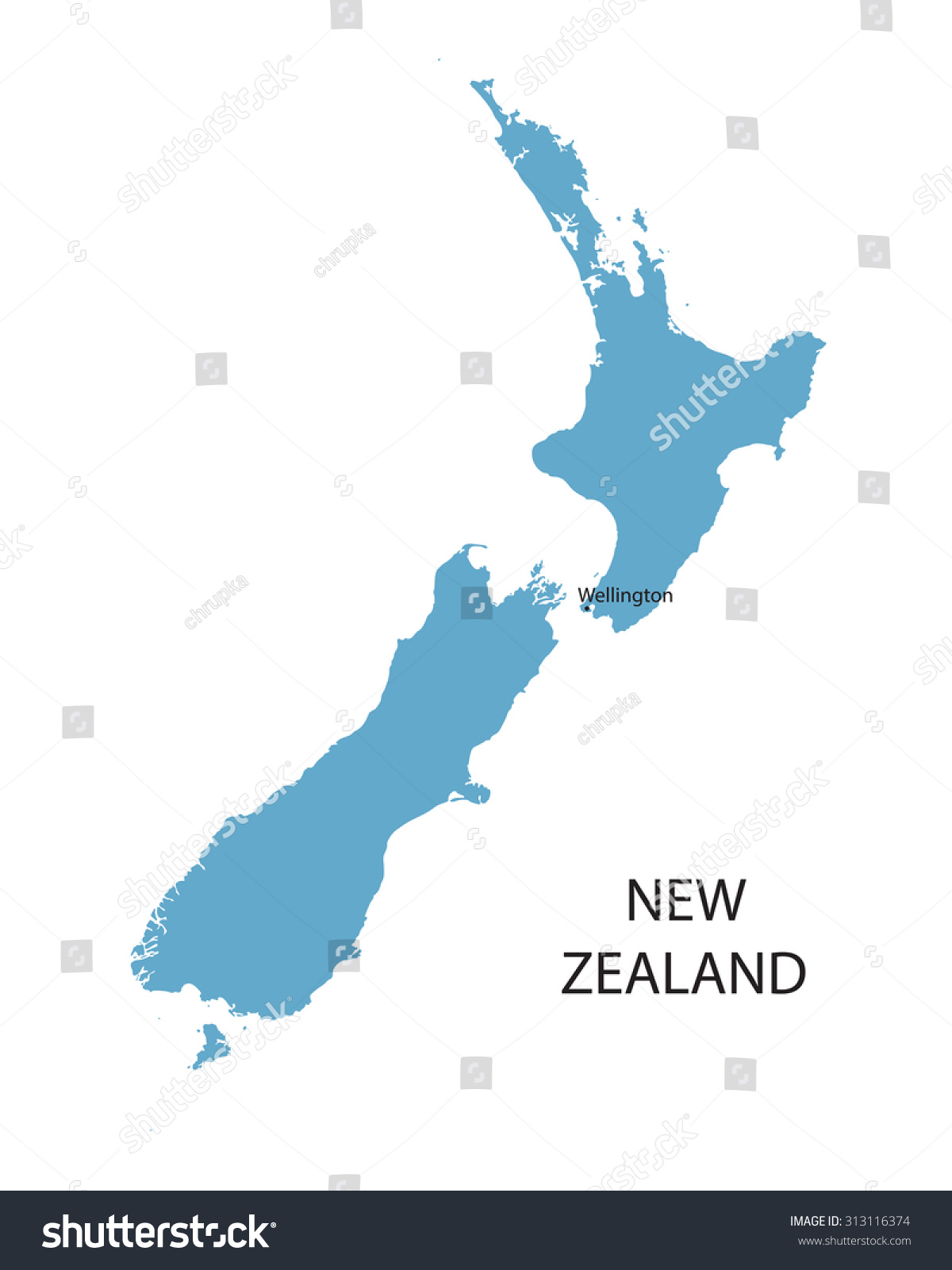 Where Is Wellington New Zealand On The Map.Blue Map New Zealand Indication Wellington Stock Vector Royalty