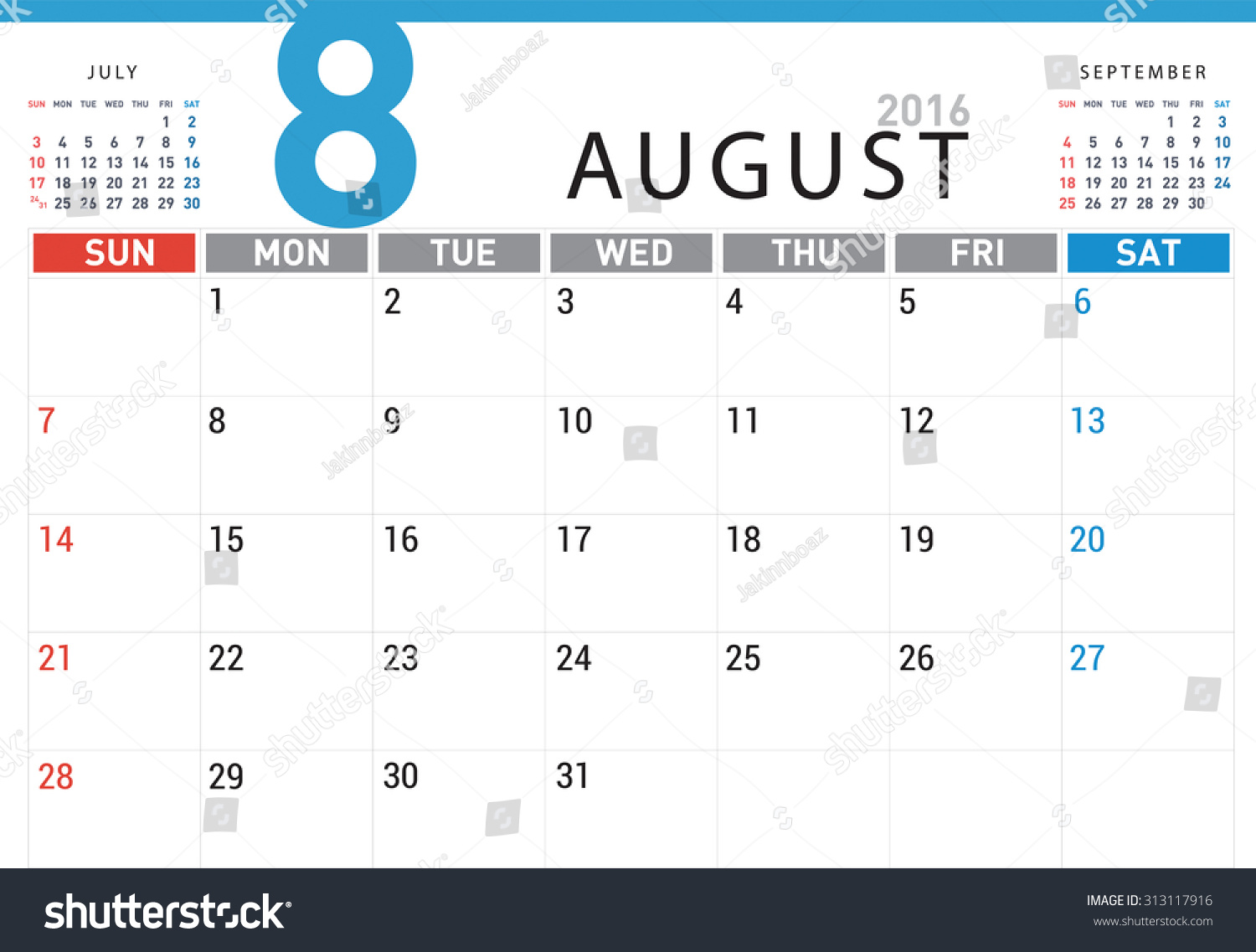 Planning Calendar Simple Template August 2016 Stock Vector ...