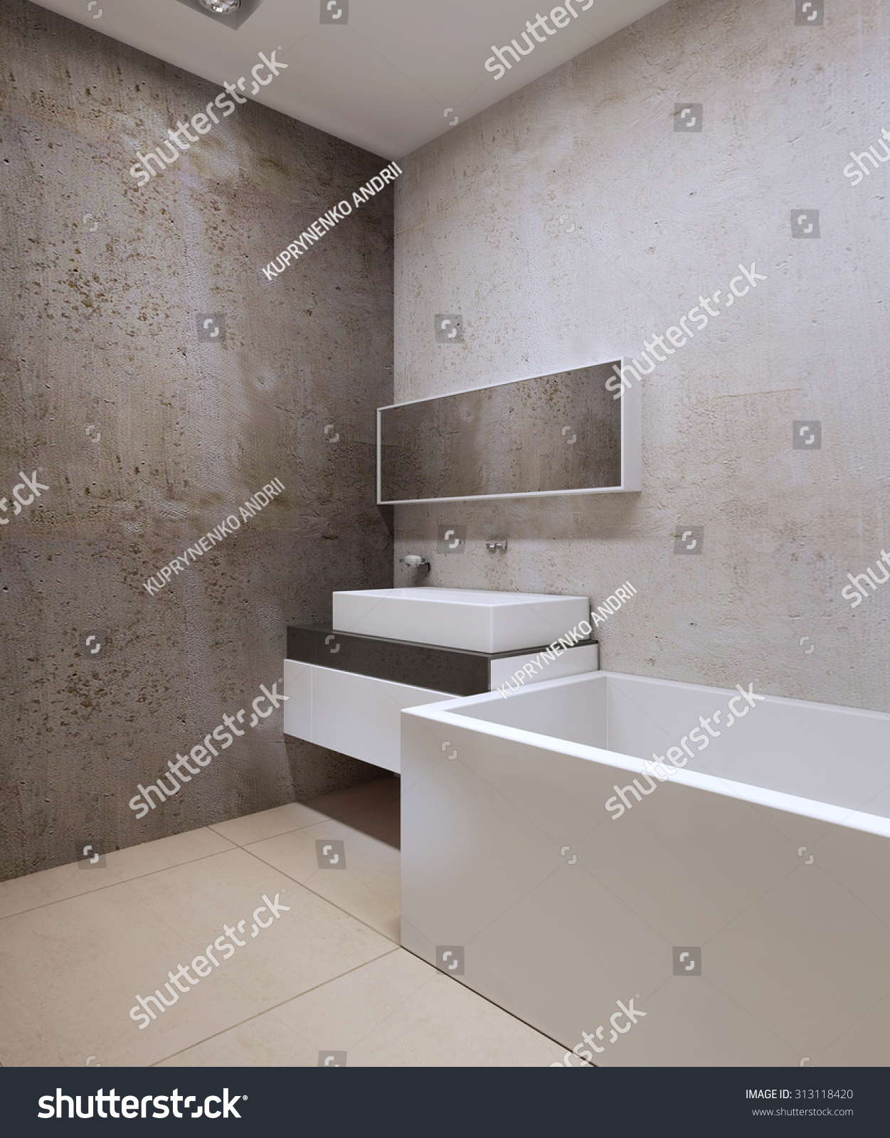 Textured walls in bathroom - Bathroom Techno Style Decorative Concrete Textured Walls Cream Colored Marble Tile Flooring Sink
