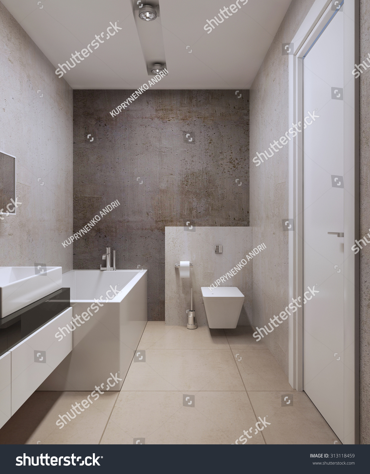 bathroom minimalist style wall toilet on stock