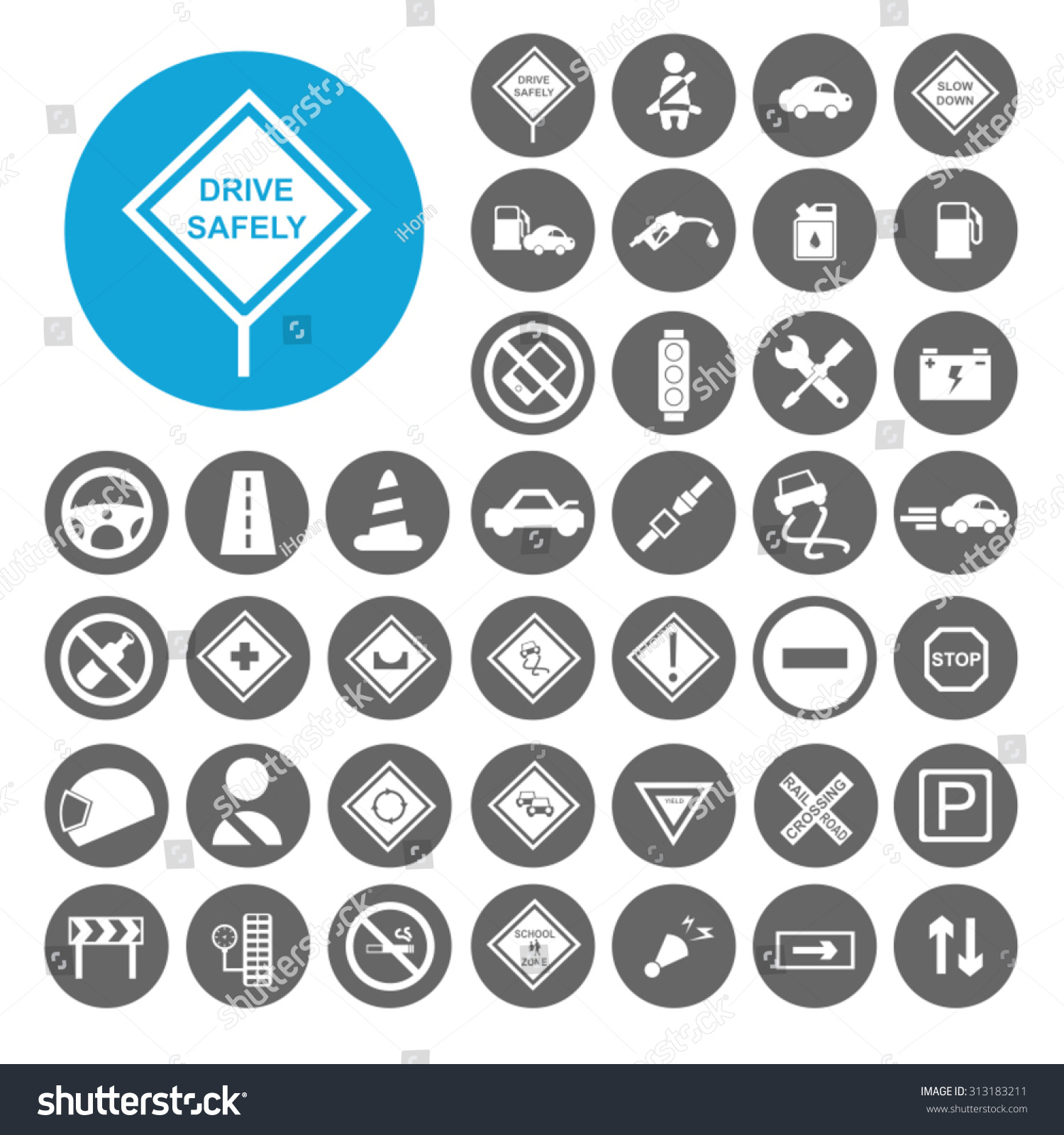 Driving Safety Icons Set Illustration Eps10 Stock Vector 313183211 ...