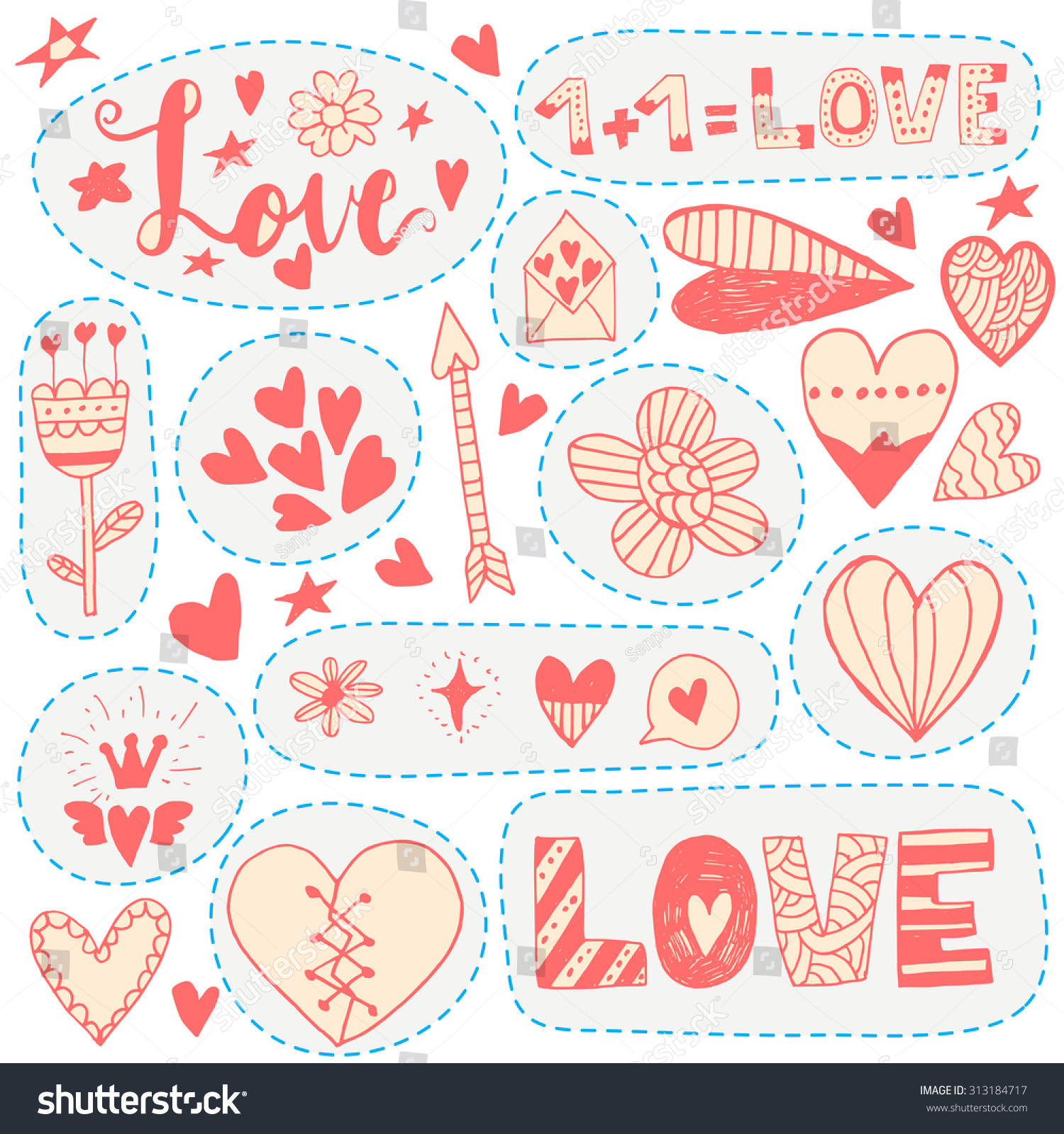 Hand Drawn Doodle Love Stickers Your Stock Vector Royalty Free