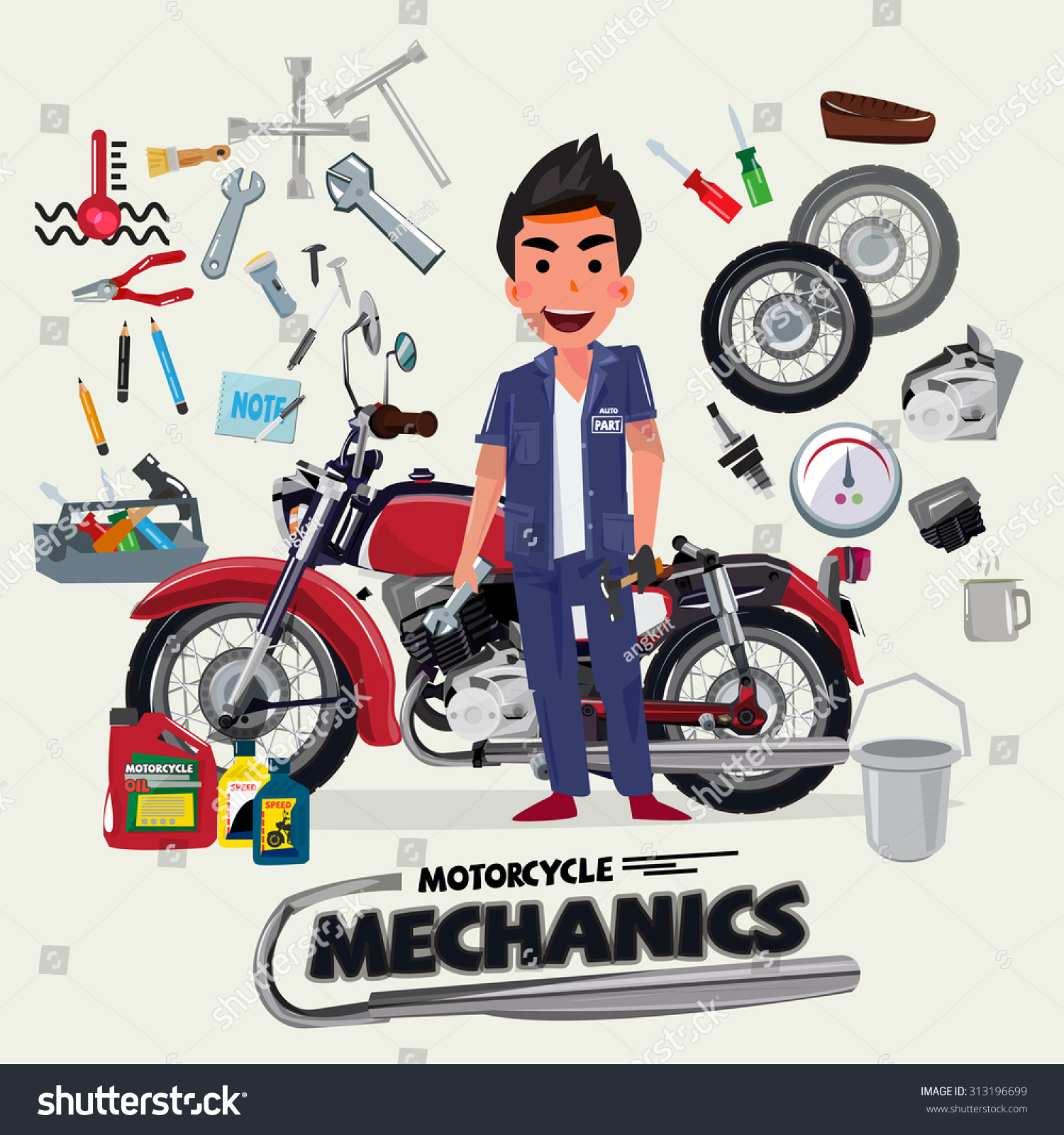 Motorcycle Mechanics Tool Kit Character Design Stock