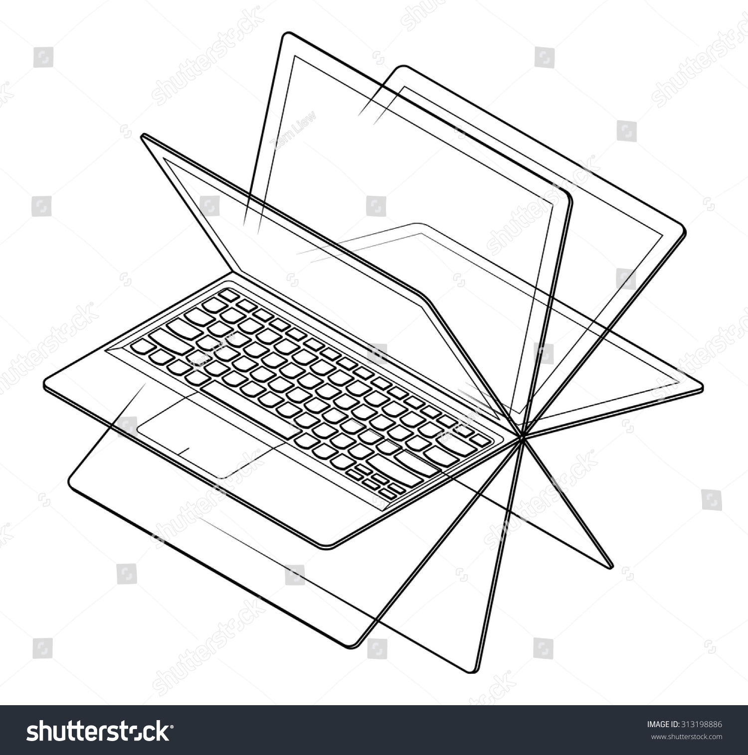 Convertible Laptopnotebook Computer 360 Degree Hinge Stock Vector Diagram A Laptop Notebook With Shown Screen In