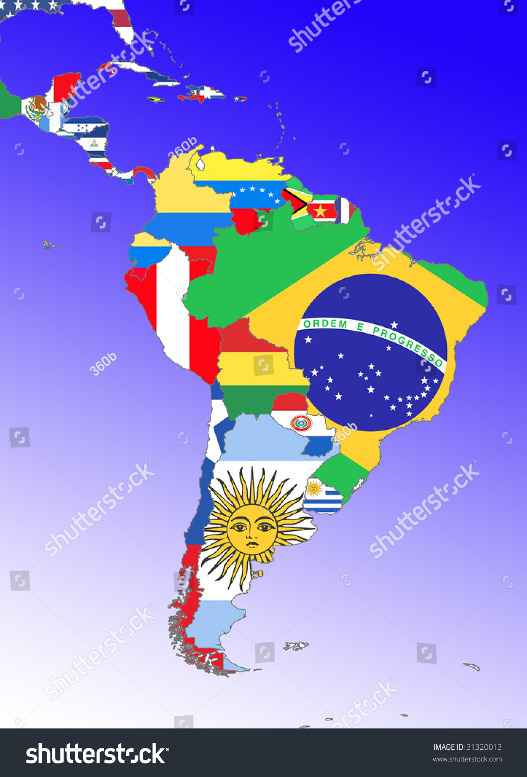 Symbolic Image Latin America South America Stock Illustration - South america map and flags