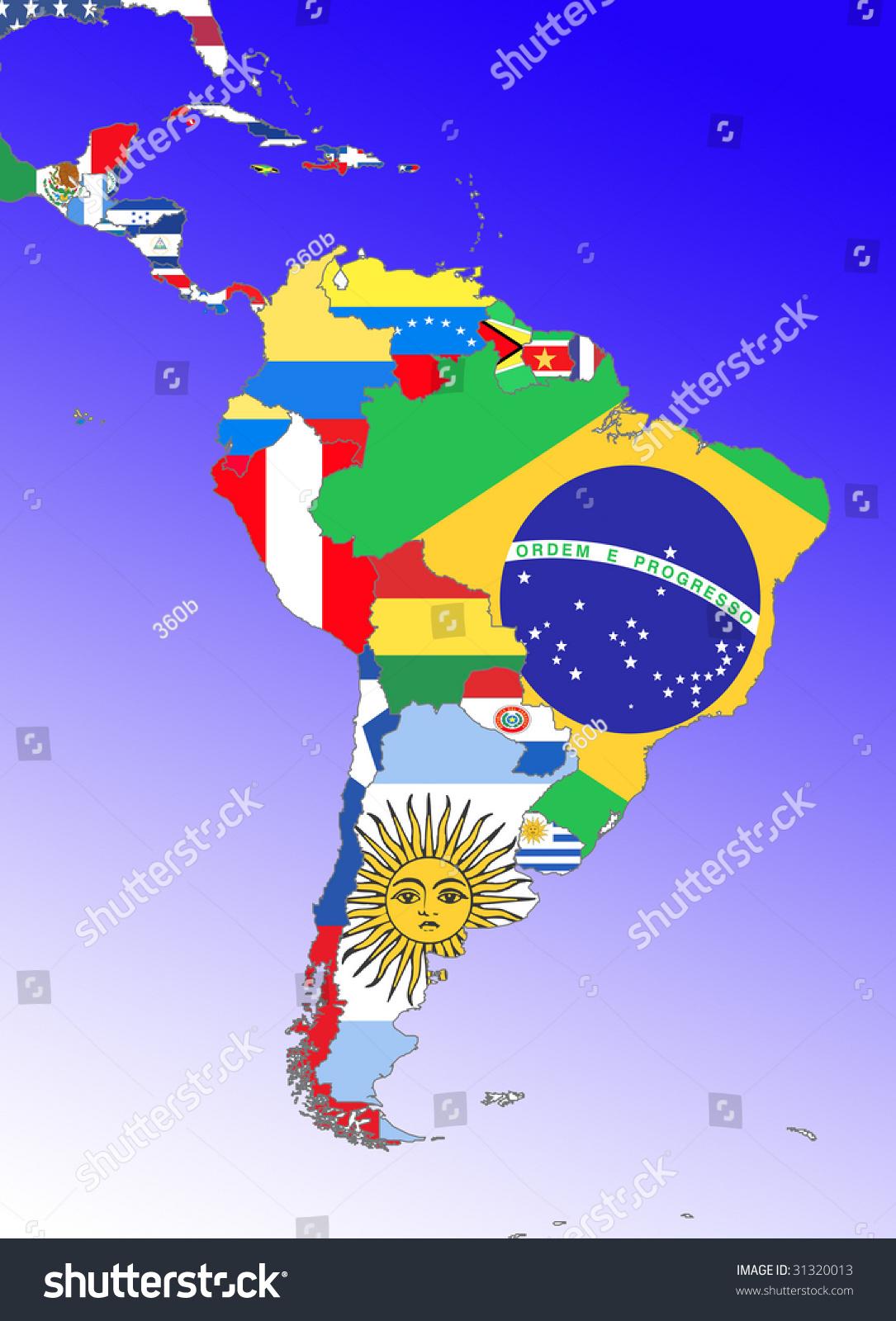 Symbolic Image Latin America South America Stock Illustration - Map of the latin america