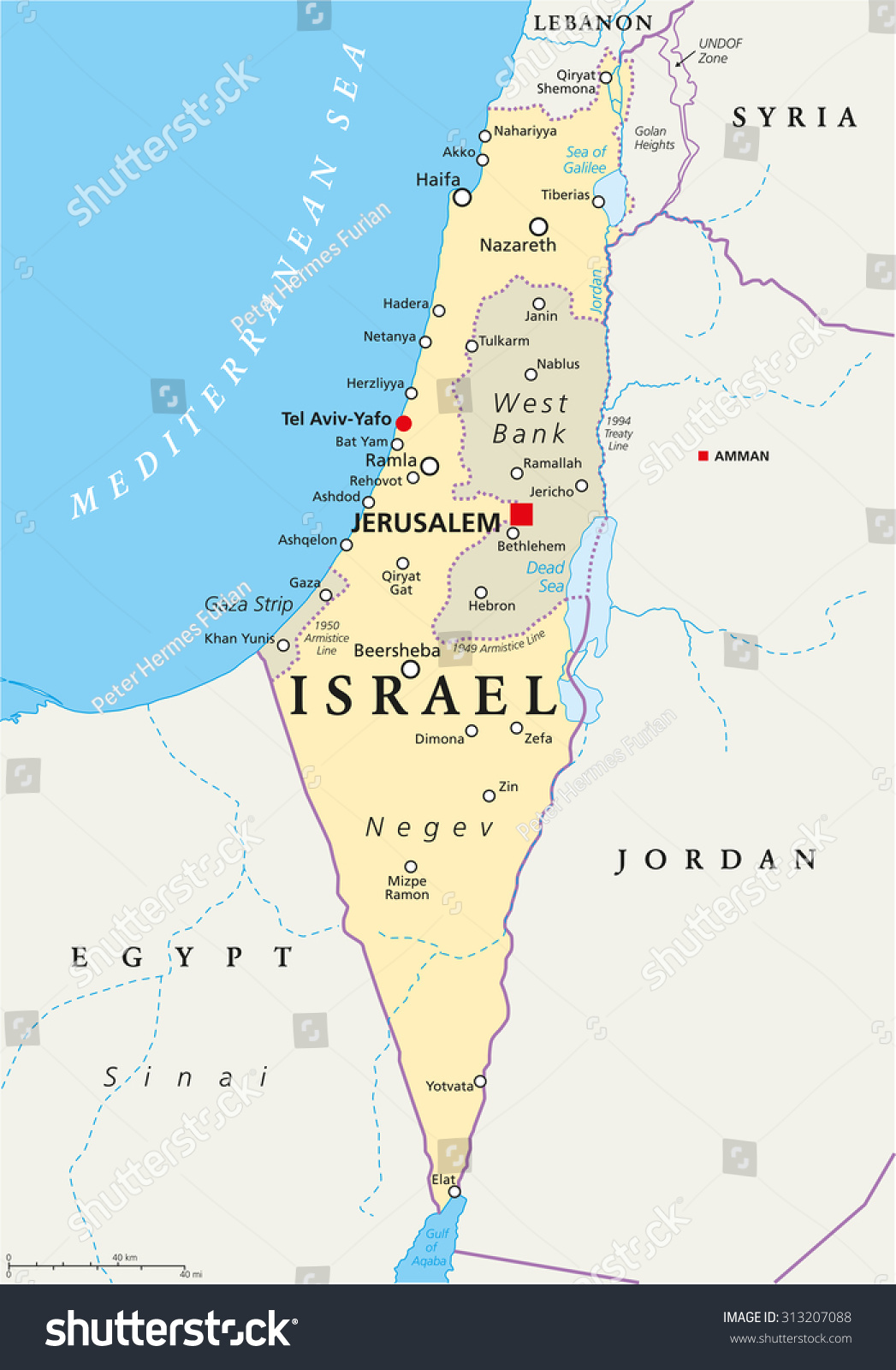 Israel Political Map Capital Jerusalem National Stock Vector