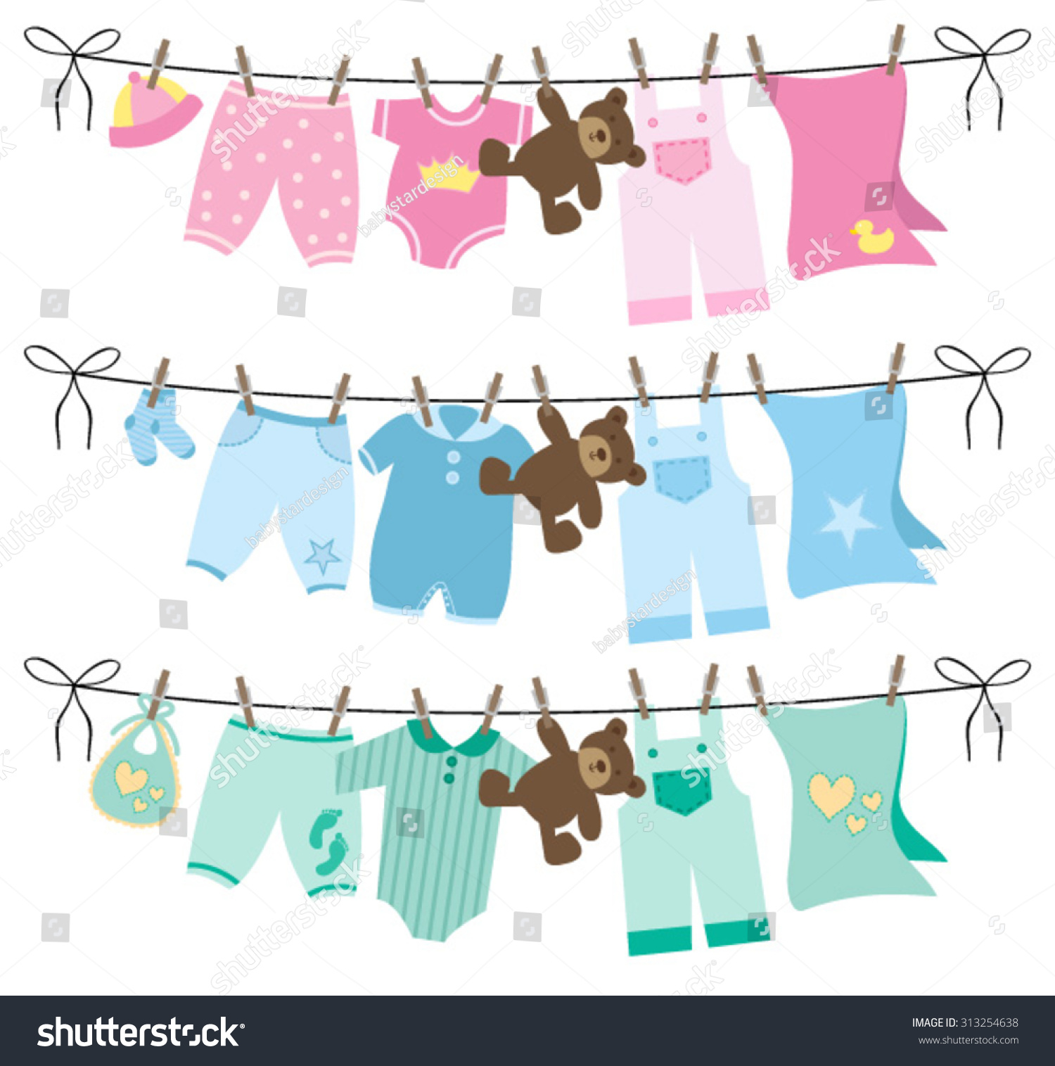 Baby Clothes Clothes Line Stock Vector