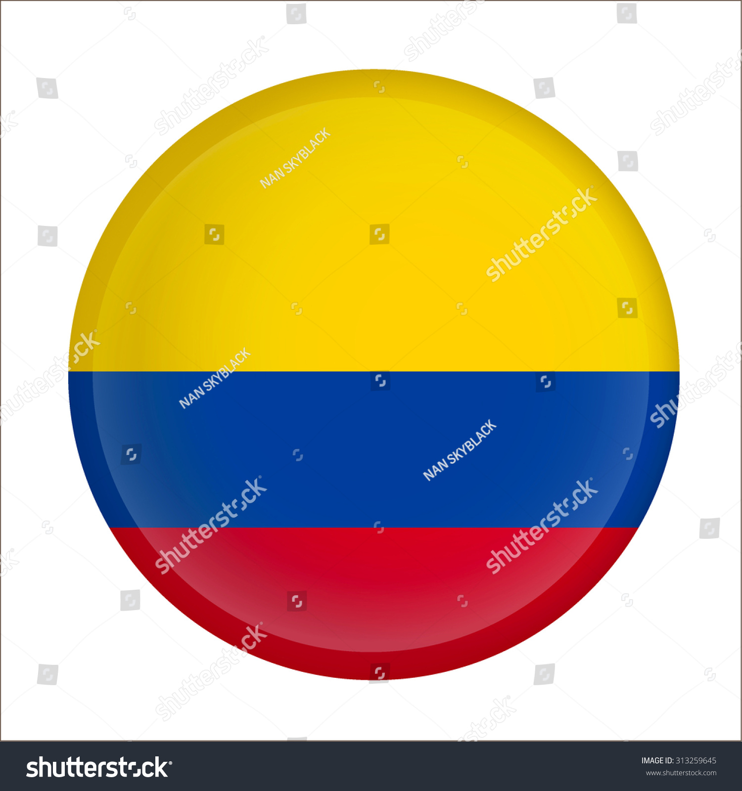 Raster Version Flag Of Colombia As Round Glossy Icon Button With