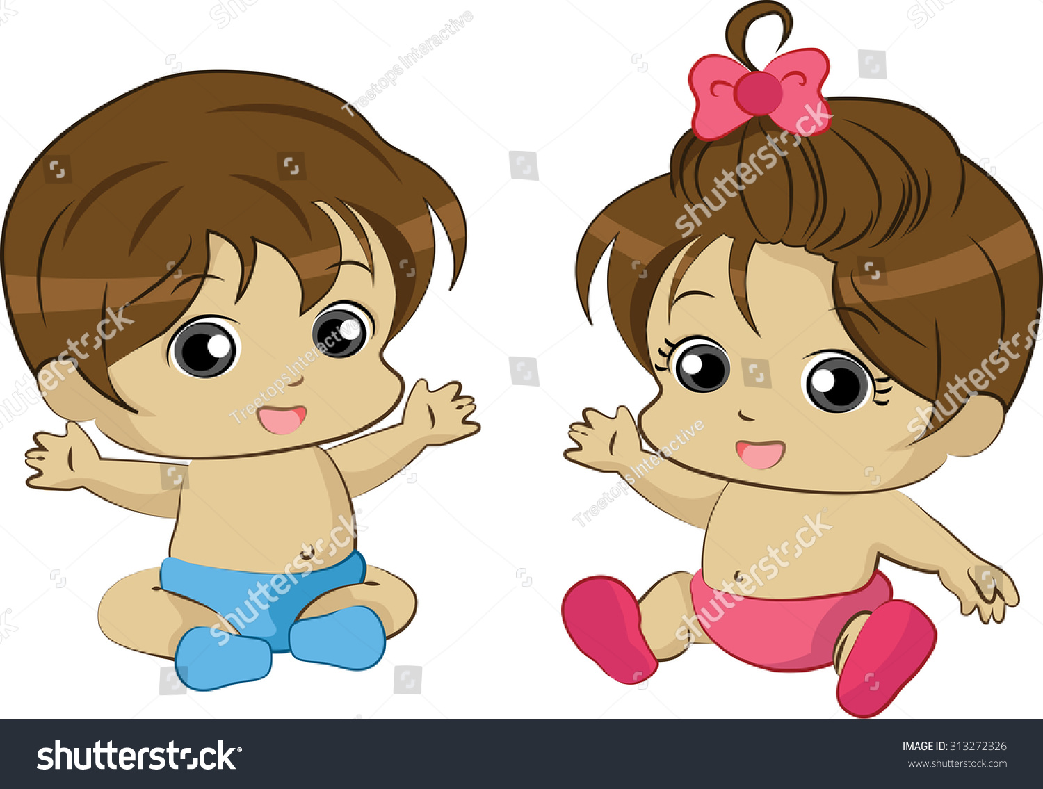 vector illustration cute baby boy girl stock photo (photo, vector