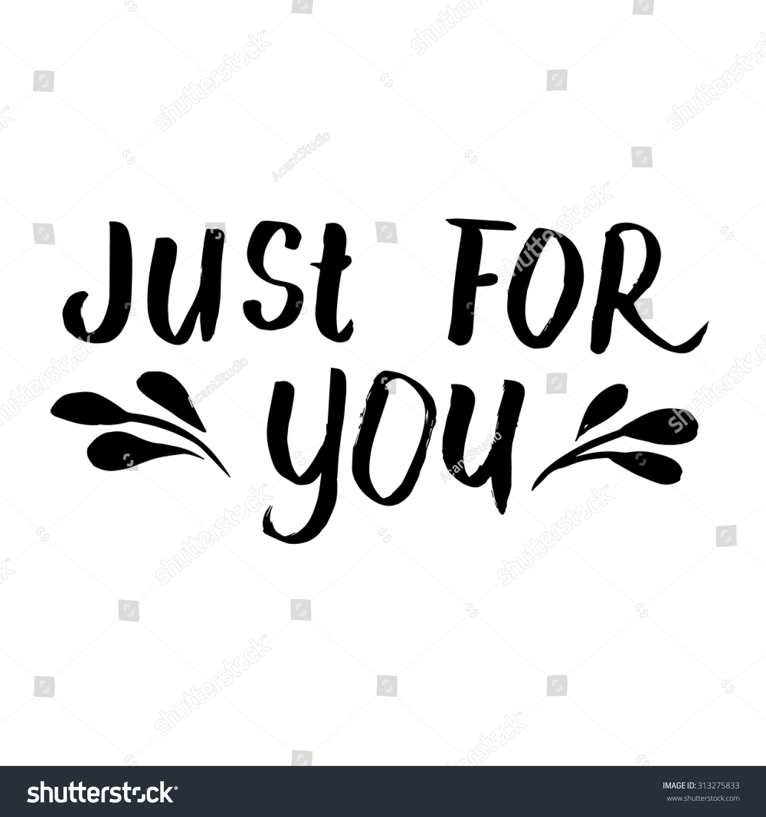 Just you ink hand lettering modern stock vector