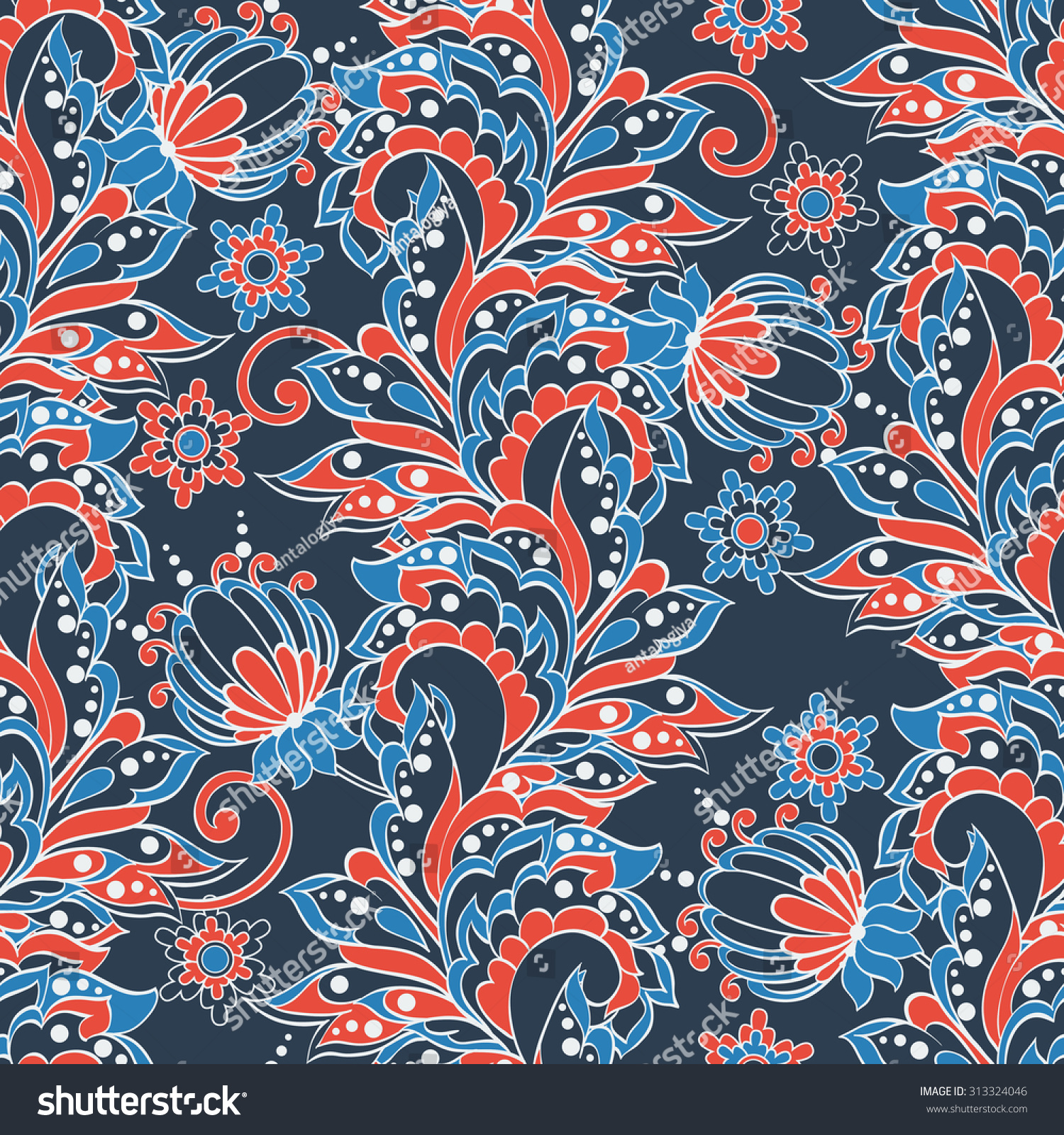 Indian Floral Seamless Pattern In Batik Style Stock Vector