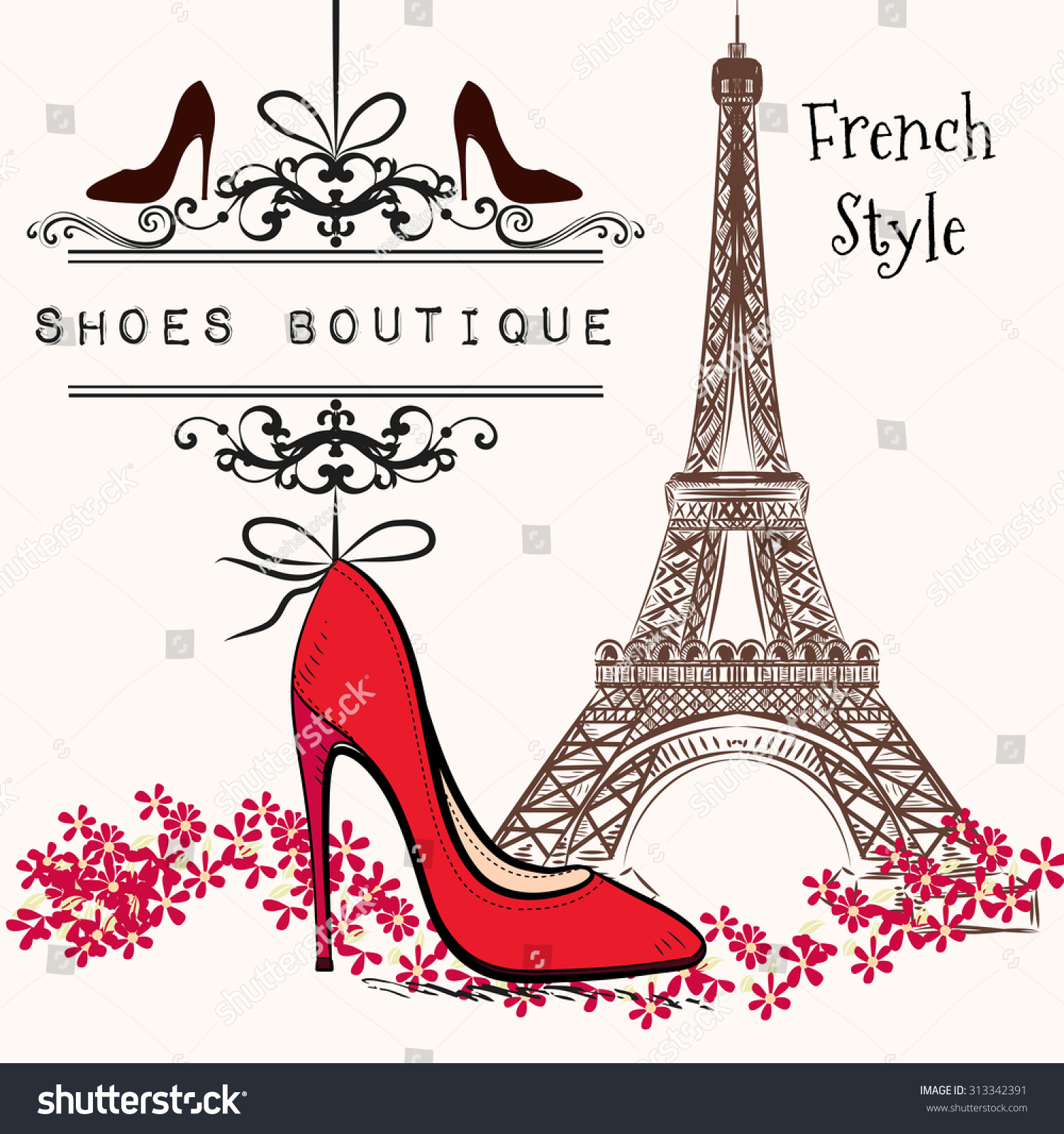 Advertising Illustration Shoes Boutique Red Shoe Stock Vector ...