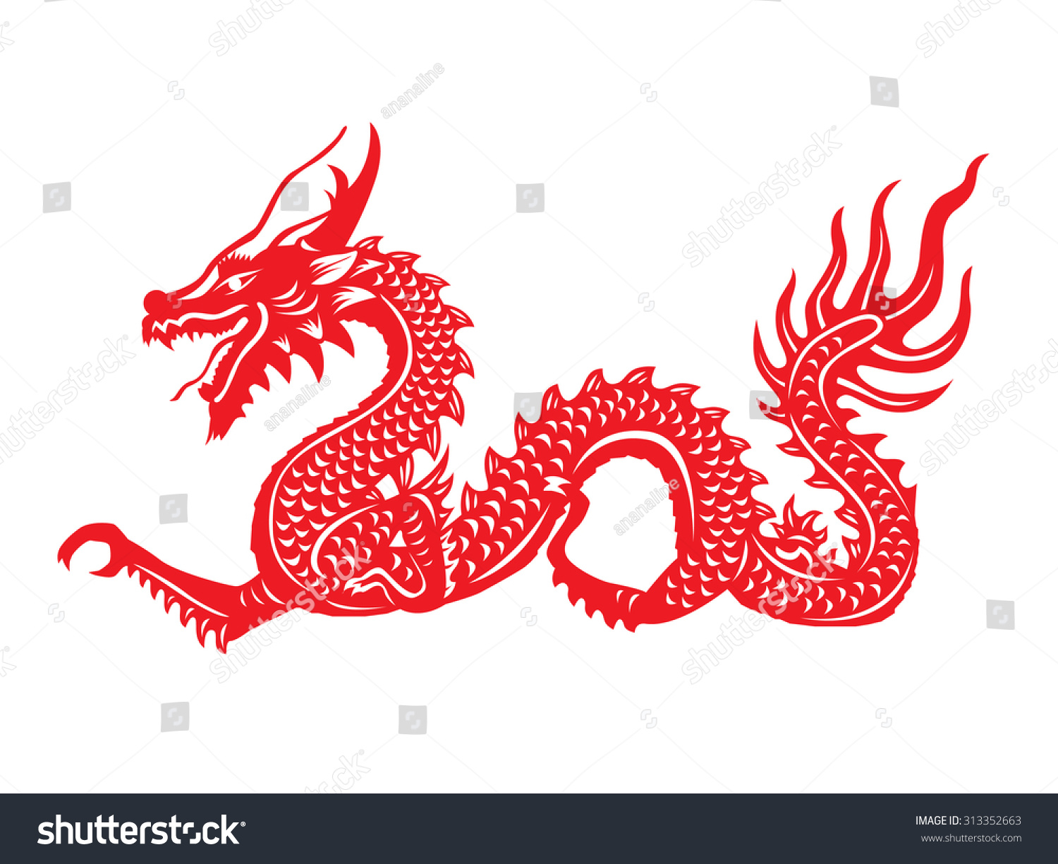 Red Paper Cut Out Dragon China Stock Vector 313352663 Shutterstock