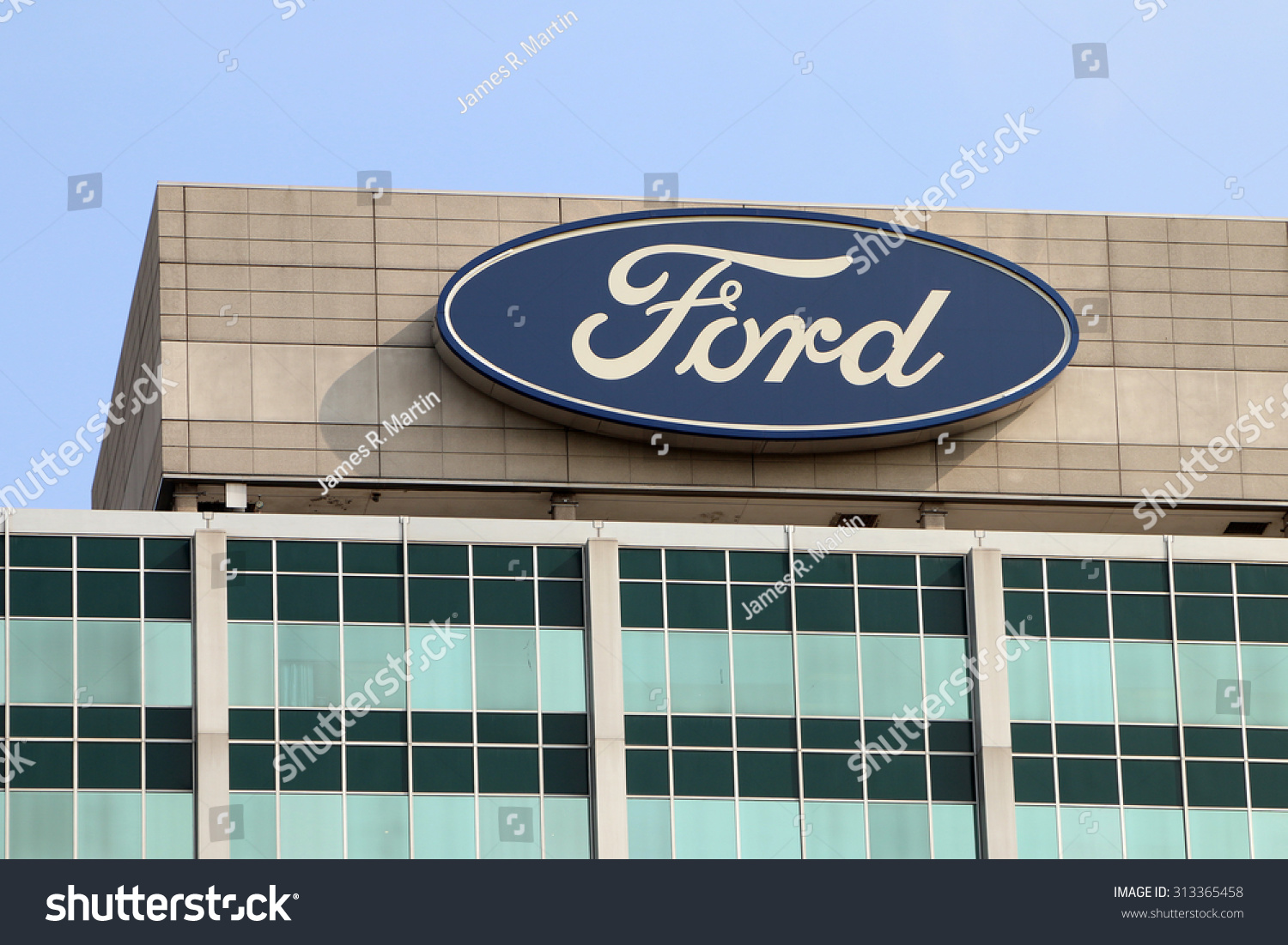 Dearborn Miaugust 2015 Sign Atop Ford Stock Photo
