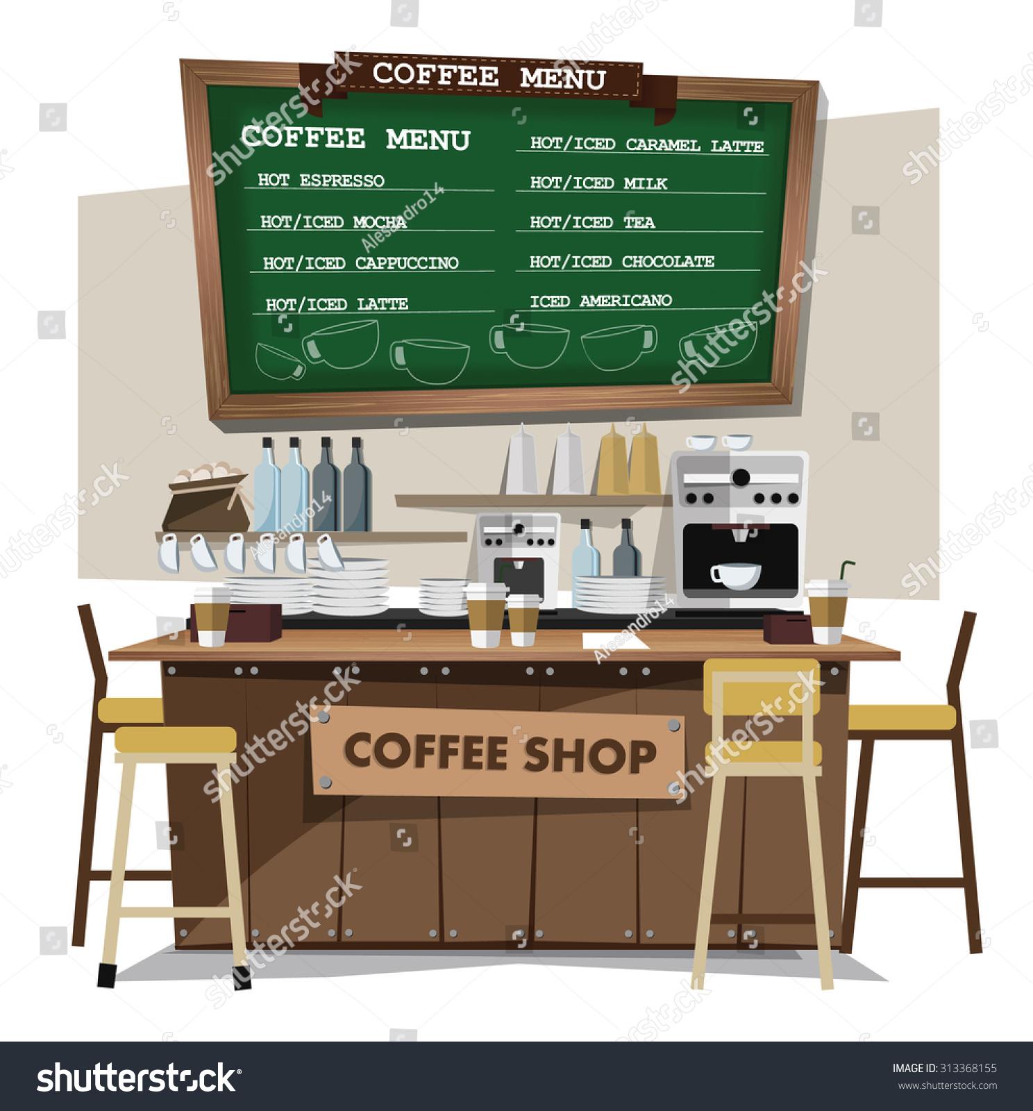 Coffee Bar Shop Flat Style Stock Vector 313368155