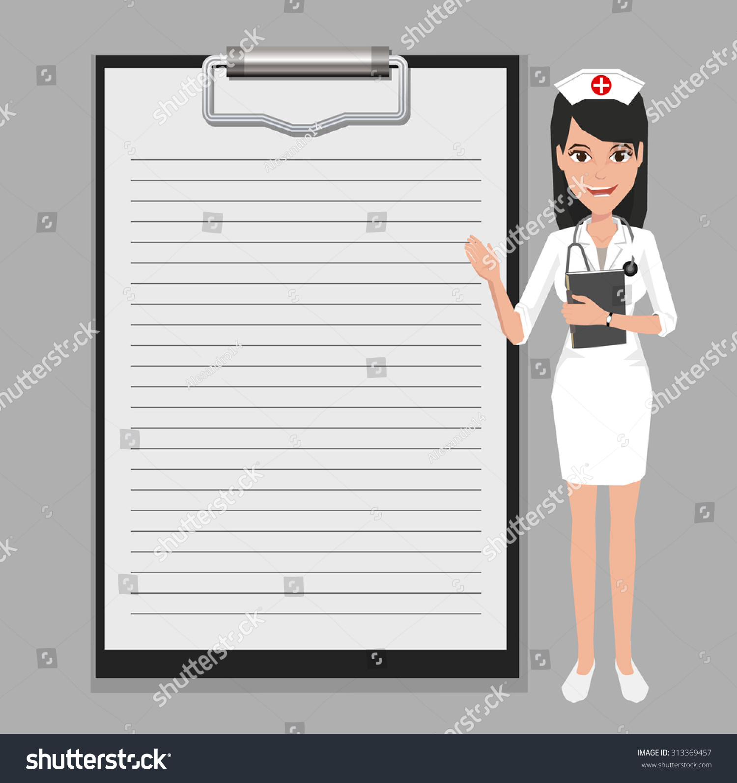 Character Design Presentation : Nurse showing blank clipboard sign for presentation