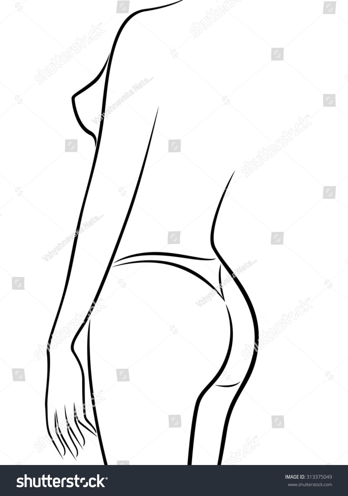 Abstract Outline Female Body Half Turn Stock Illustration 313375049 ...
