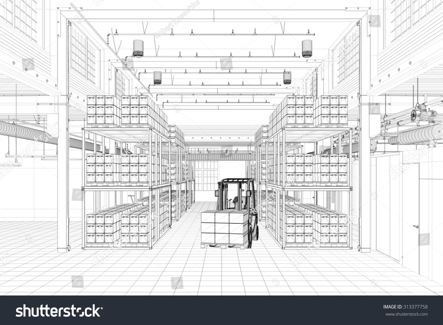 CAD wireframe mesh of a warehouse with forklift 3D Rendering