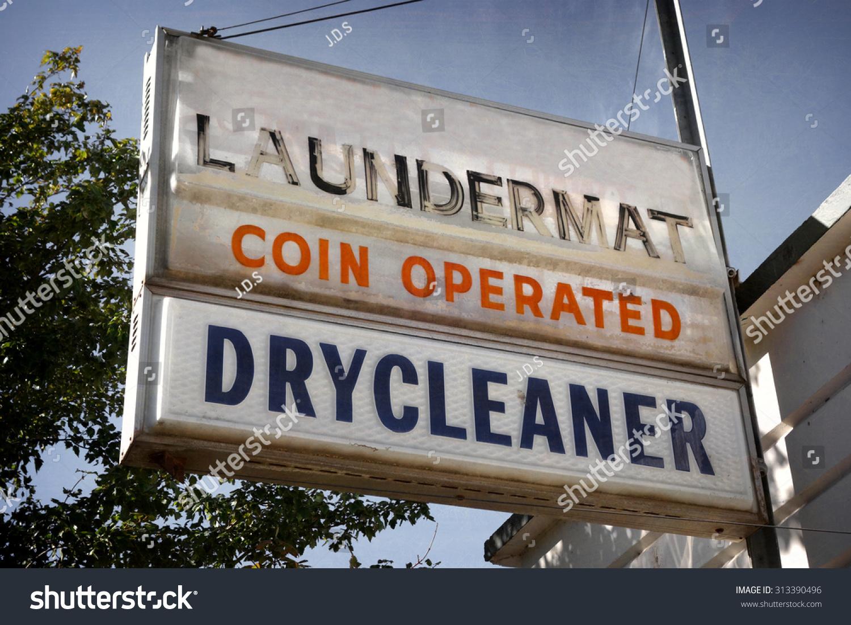 Vintage Laundromat Sign Aged Worn Vintage Photo Laundromat Dry Stock Photo 313390496