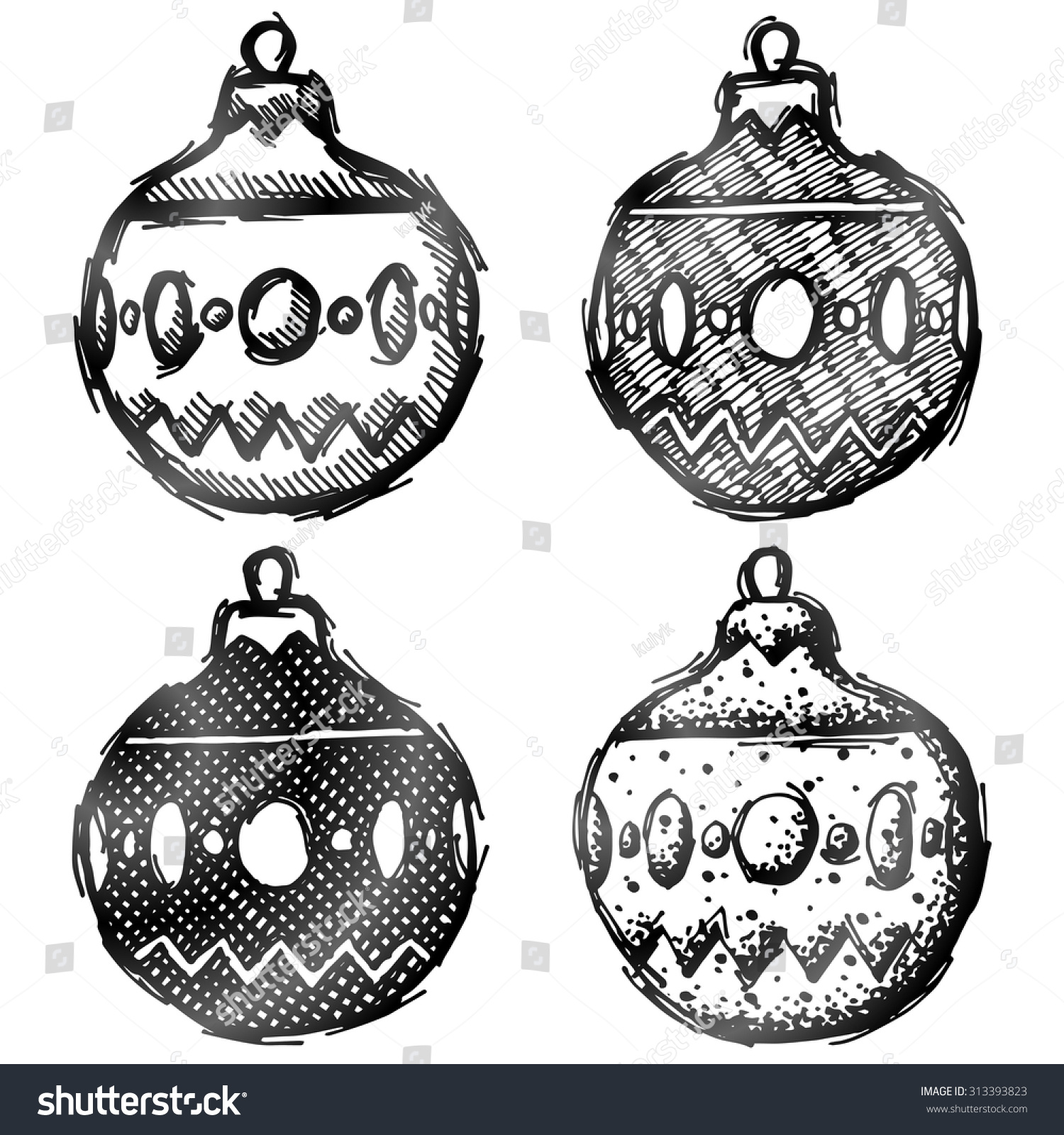 Hand Drawn Bauble (Holiday Decoration). Sketch Of Christmas Tree Ornament In Doodle Style ...