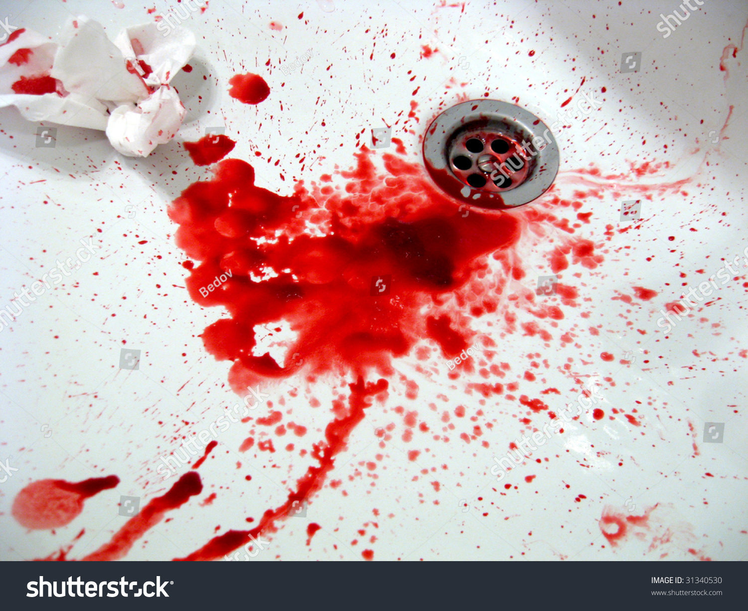 Real Blood Addict Sink Red On Stock Photo 31340530 ...