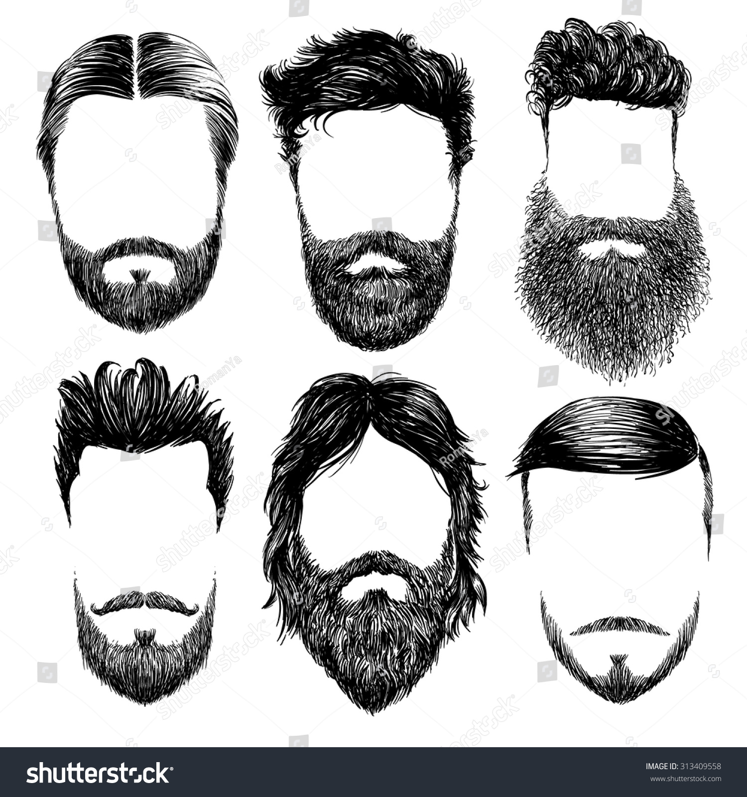 hipster fashion man hair beards hand stock vector