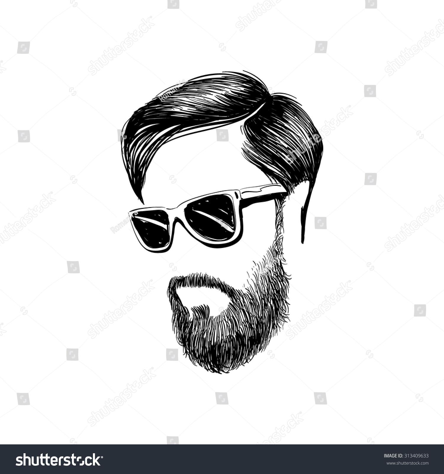 Hipster Fashion Man Hair Beards Hand Stock Vector ...