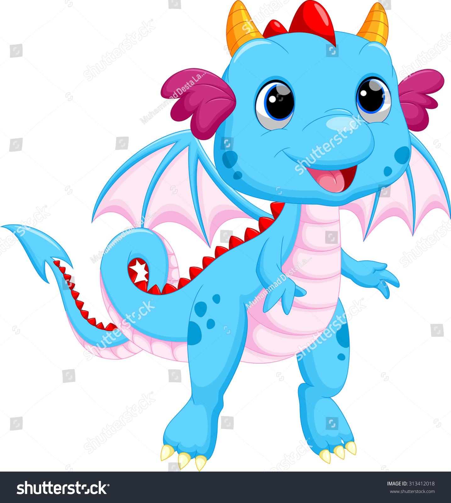 Cute Baby Dragon Cartoon Stock Illustration 313412018