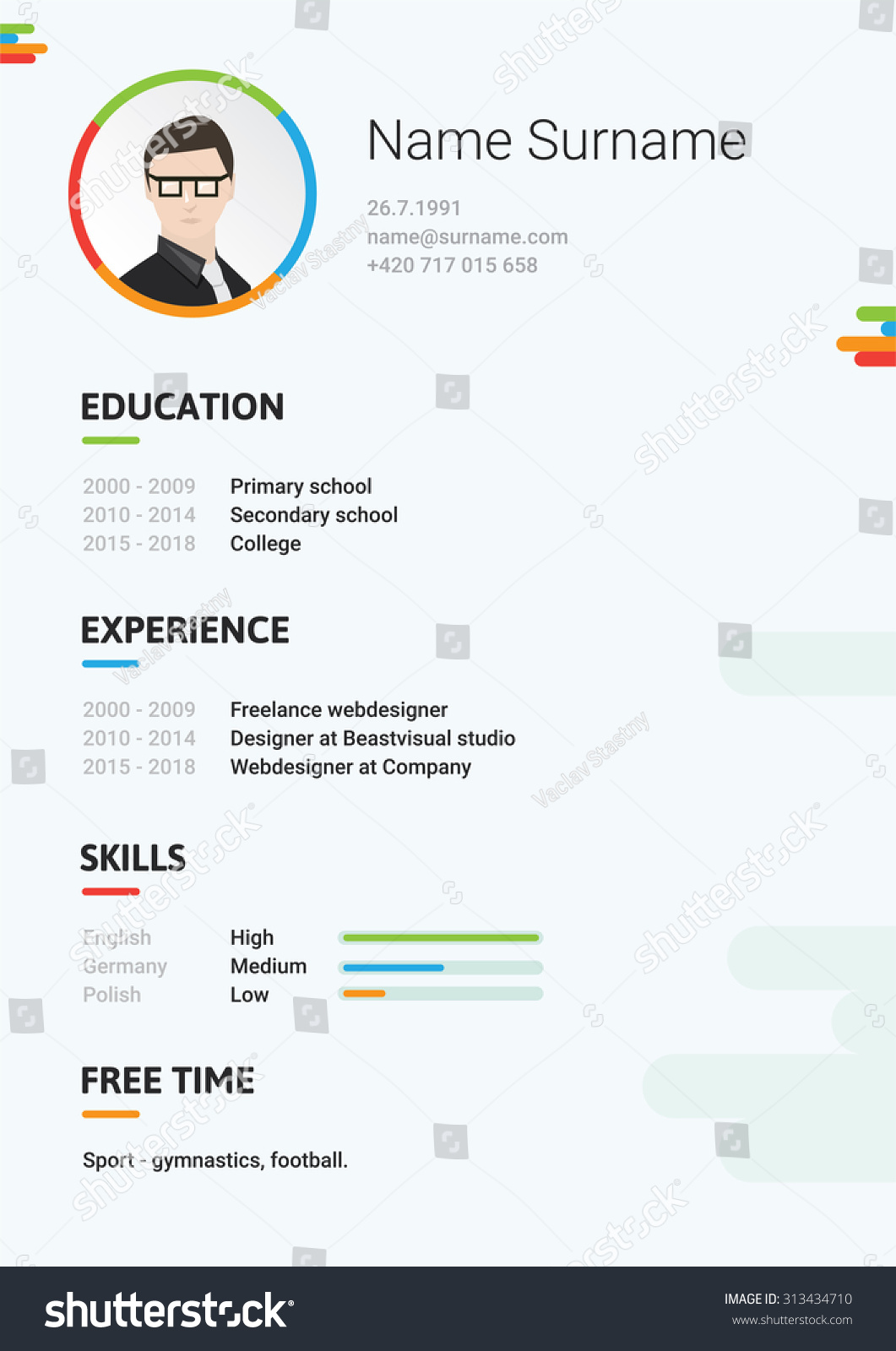 vector light cv resume curriculum viate stock vector 313434710 vector light cv resume curriculum viate template modern and creative cv it s