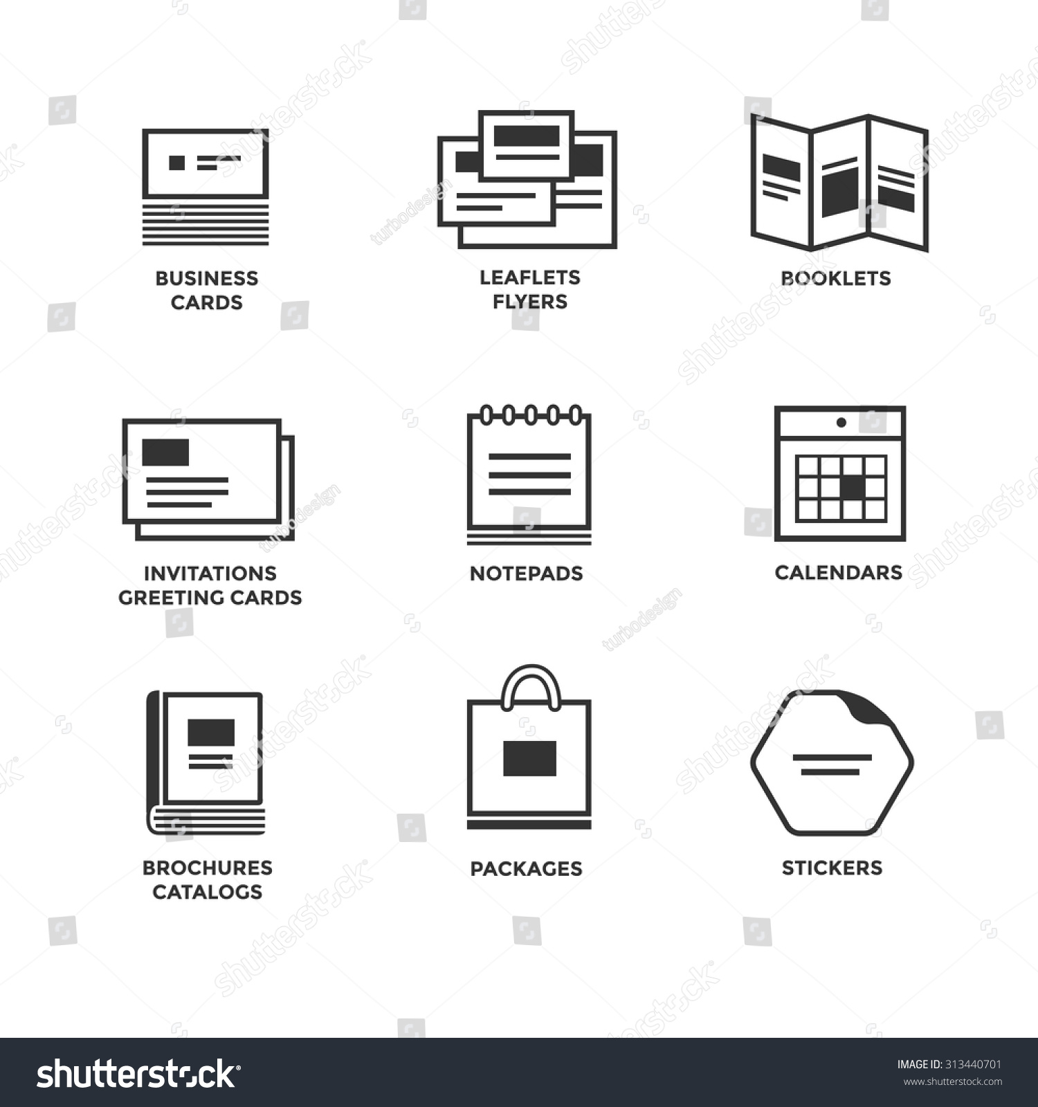 icons various print media size format stock vector royalty free