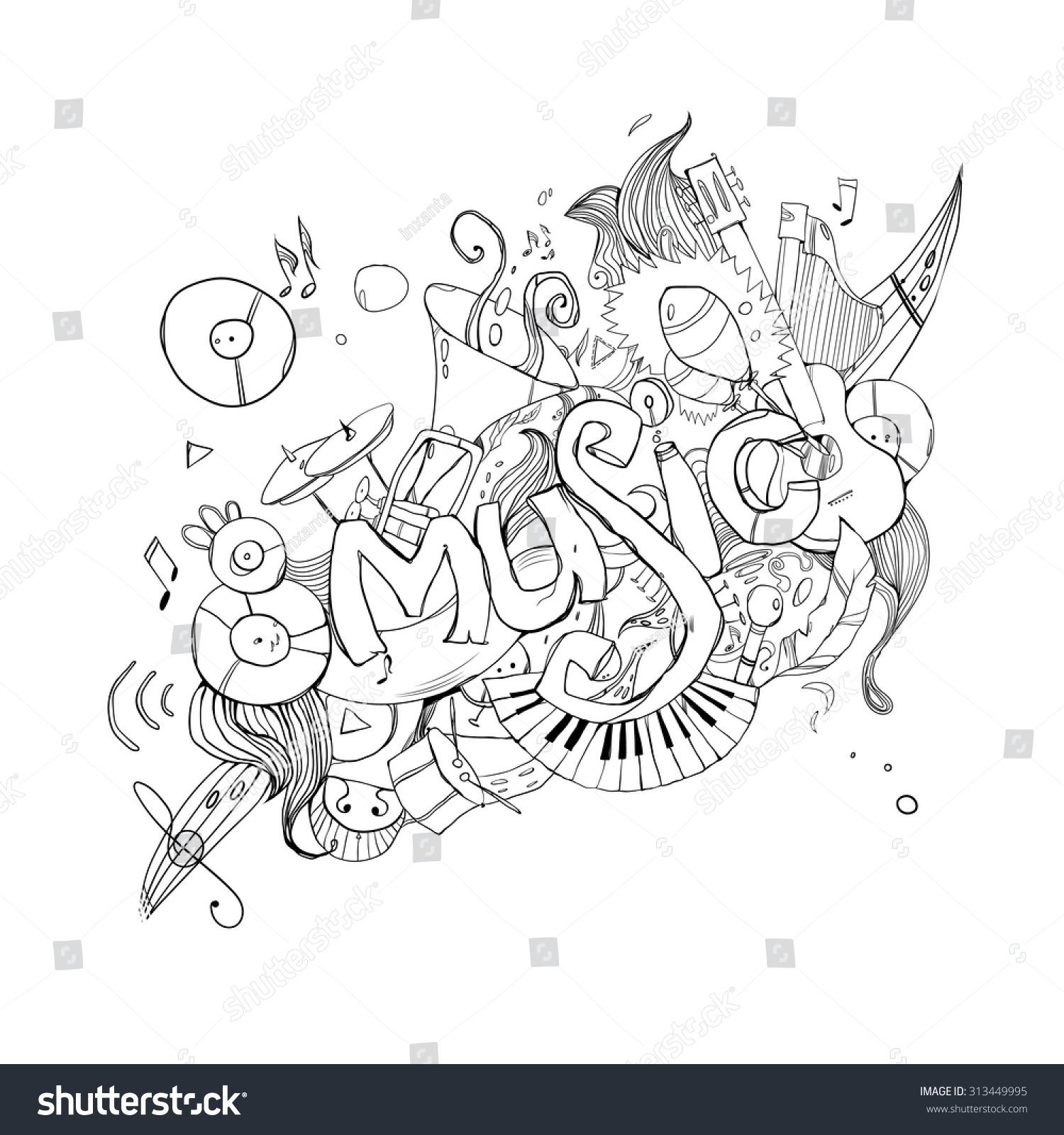 Stock vector music hand lettering and doodles elements - Music Hand Lettering And Doodles Elements Background Vector Illustration Preview Save To A Lightbox