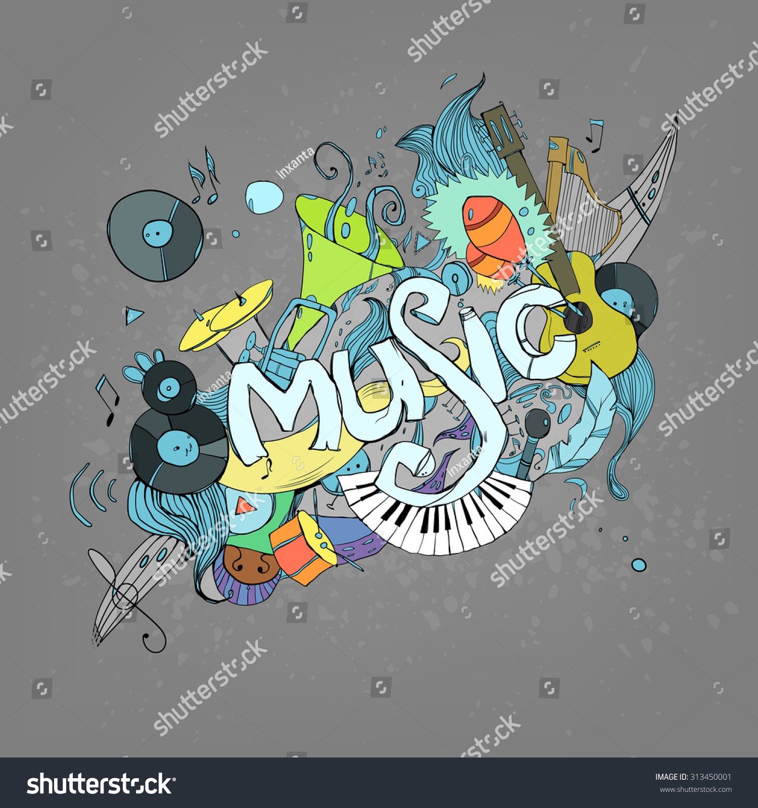 Stock vector music hand lettering and doodles elements - Music Hand Lettering And Doodles Elements Background Vector Illustration