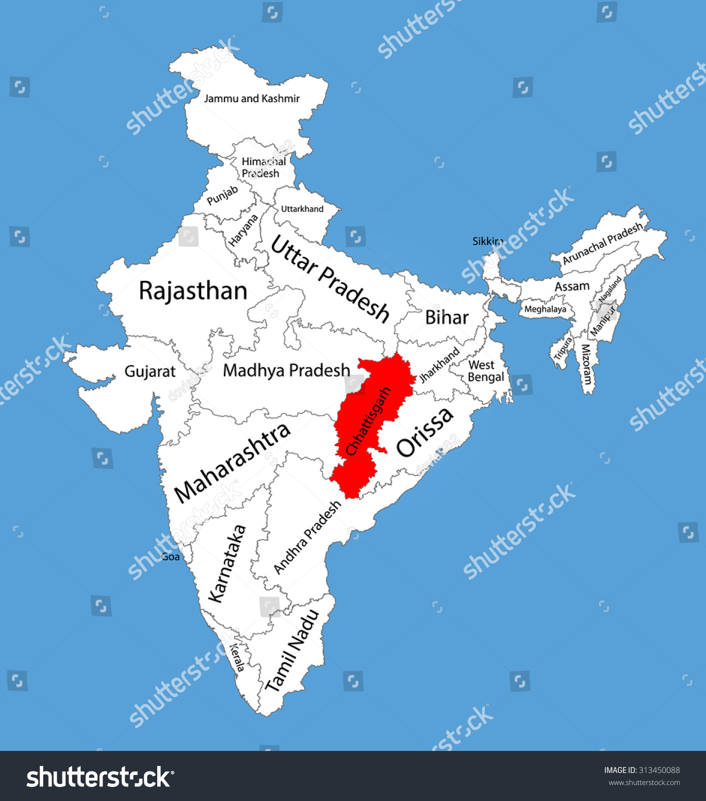 chhattisgarh chhattisgarh state india vector map stock vector