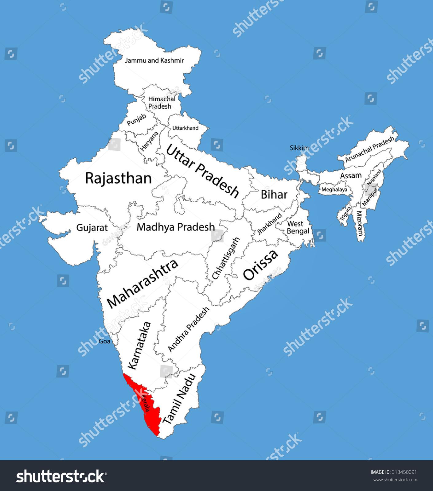 highlighted kerala in india map Kerala Karala State India Vector Map Stock Vector Royalty Free highlighted kerala in india map
