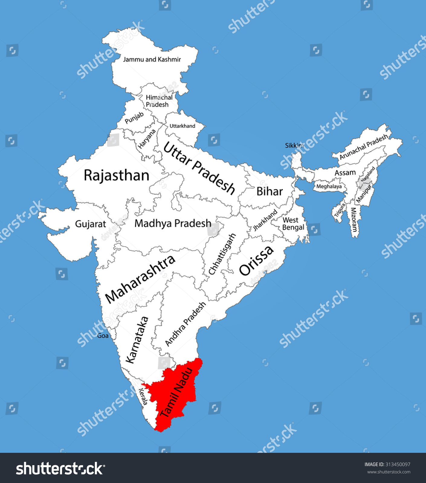 Tamil nadu state india vector map vectores en stock 313450097 tamil nadu state india vector map silhouette illustration isolated on india map editable gumiabroncs Choice Image