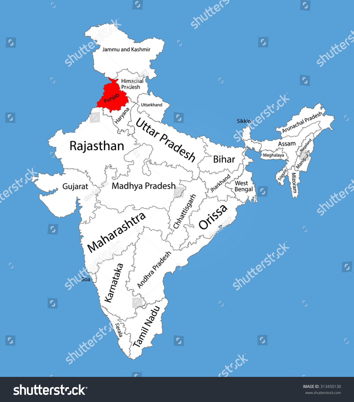 Punjab state india vector map silhouette stock vector 313450130 punjab state india vector map silhouette illustration isolated on india map editable blank buycottarizona Gallery