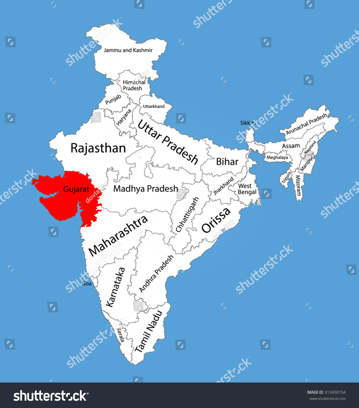 Royalty-free Gujarat state, India, vector map… #313450154 Stock ...