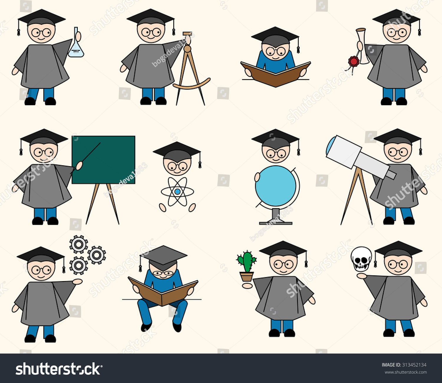 Bachelor Icons Objects High School College Stock Illustration ...