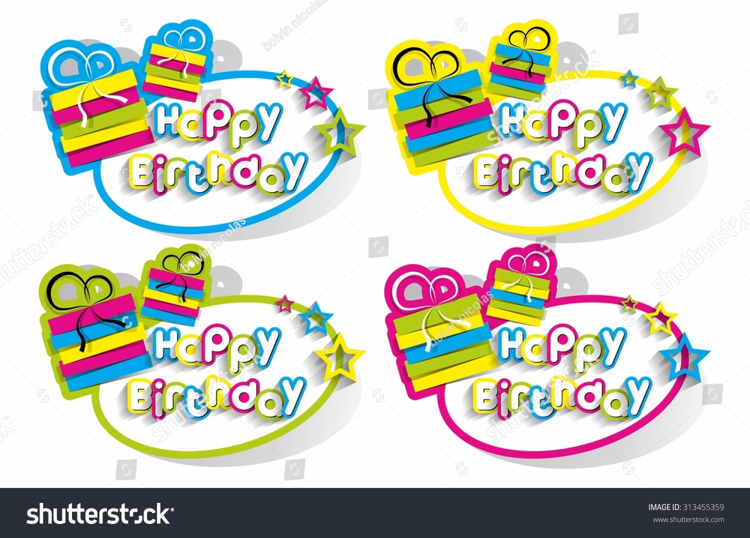 Happy birthday stickers on background vector illustration