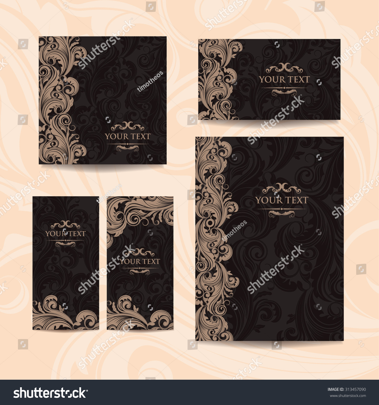 Classic Book Cover Vector ~ Premium royal vintage victorian set templates stock vector