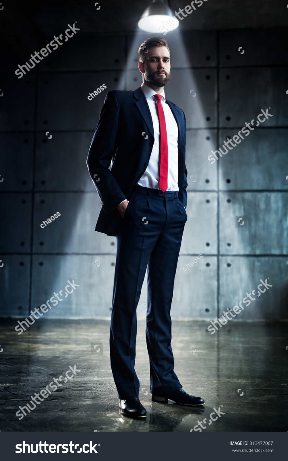 Young Handsome Businessman Beard Black Suit Stock Photo (Royalty ...